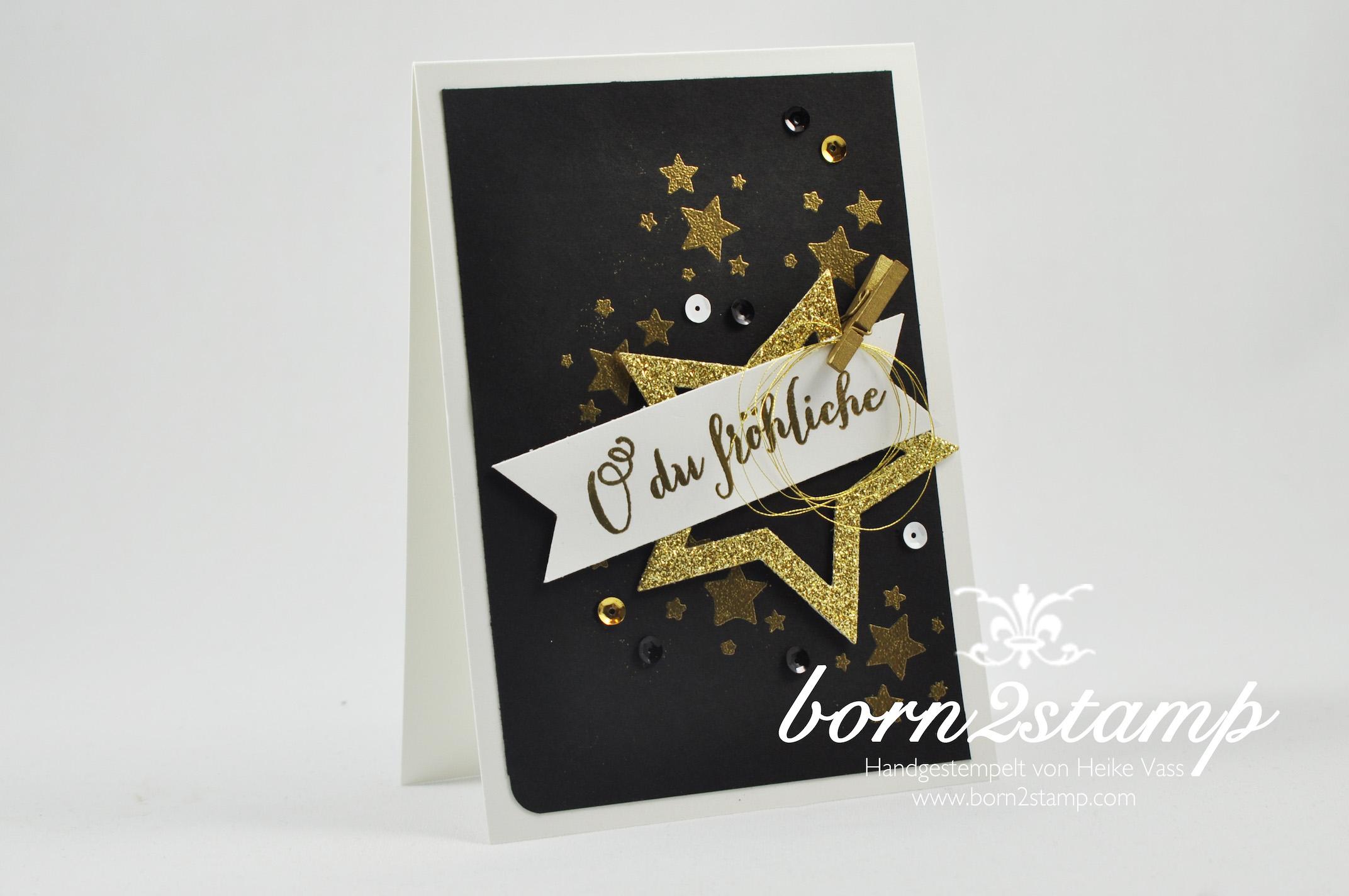 born2stamp STAMPIN' UP! Weihnachtskarte – Stern-Kollektion – Embossing – Perpetual Birthday Calendar – Froehliche Weihnachten