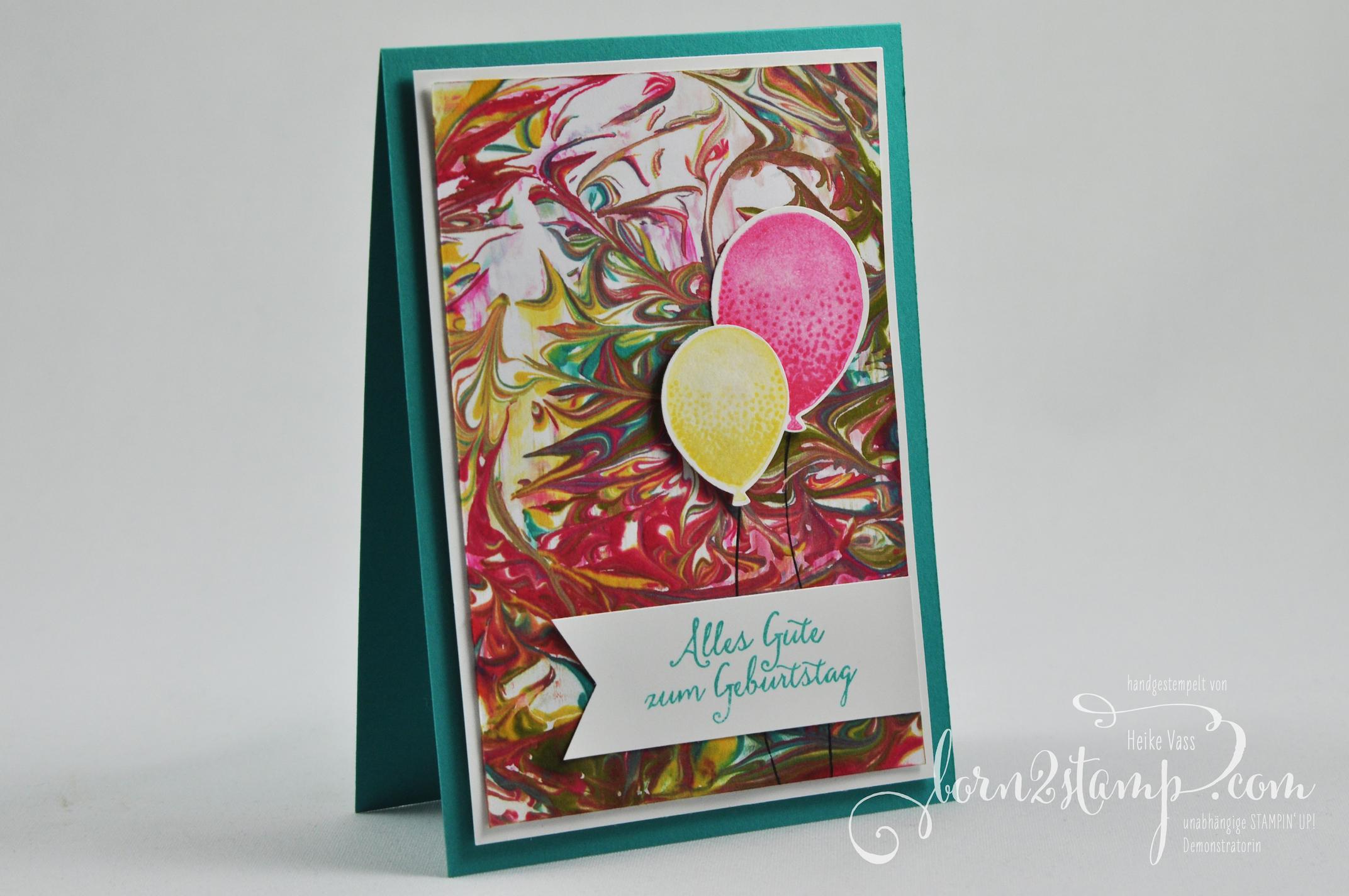 born2stamp STAMPIN' UP! Geburtstagskarte – Raserschaumtechnik – Partyballons