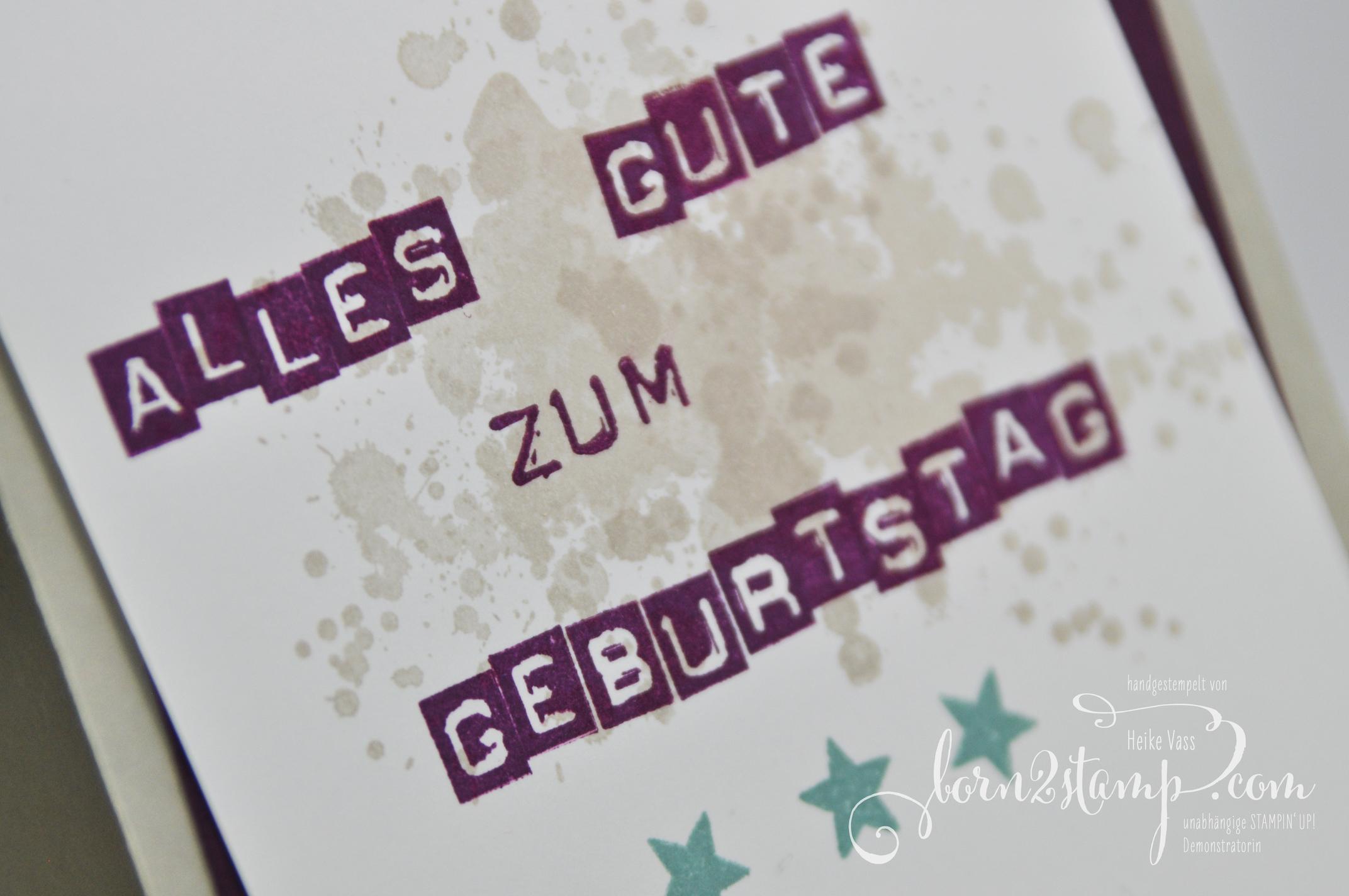 born2stamp STAMPIN' UP! Geburtstagskarte – Labeler Alphabet – Gorgeous Grunge