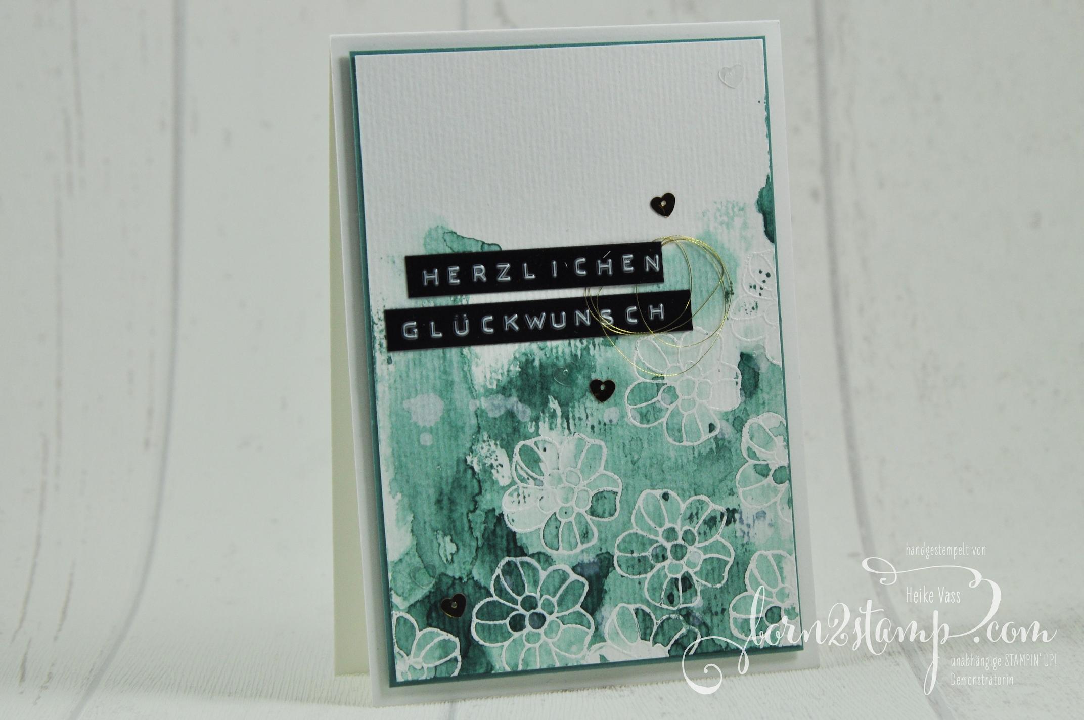 born2stamp STAMPIN' UP! Geburtstagskarte – Rosenzauber – Garn