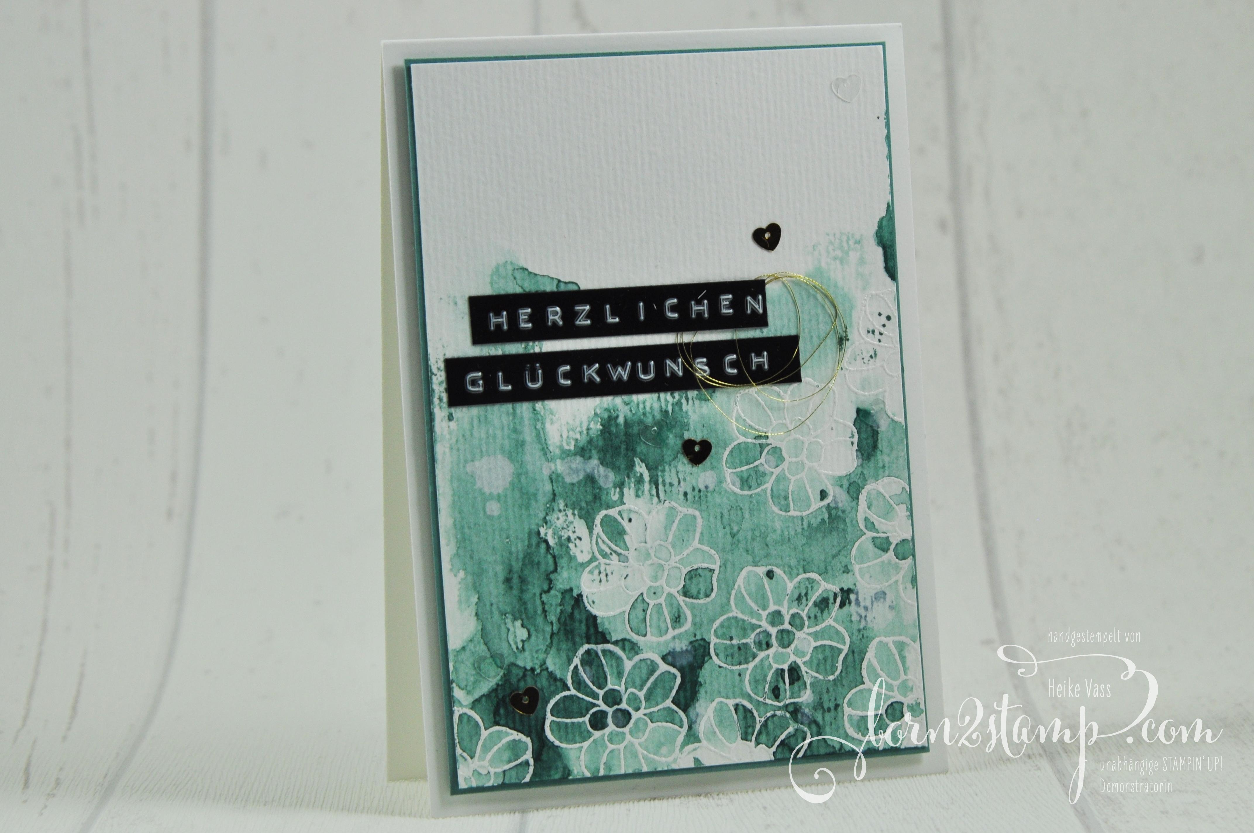 born2stamp STAMPIN' UP! Geburtstagskarte – Rosenzauber – Garn 1