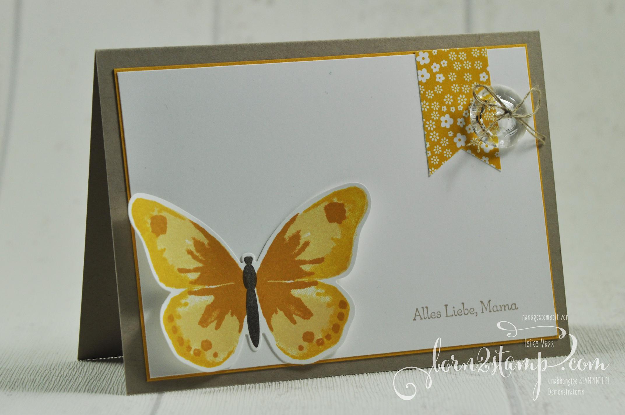born2stamp STAMPIN' UP! Muttertagskarte – Watercolor Wings – Vintag-Designerknoepfe