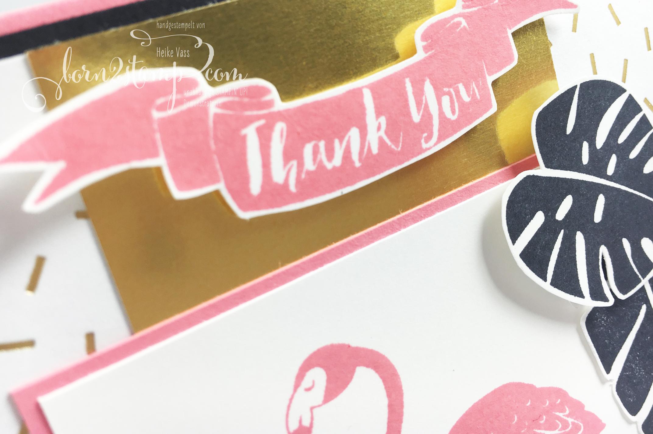 born2stamp STAMPIN' UP! Dankeskarte – Pop of Paradise – DSP Pink mit Pep – Goldfolie