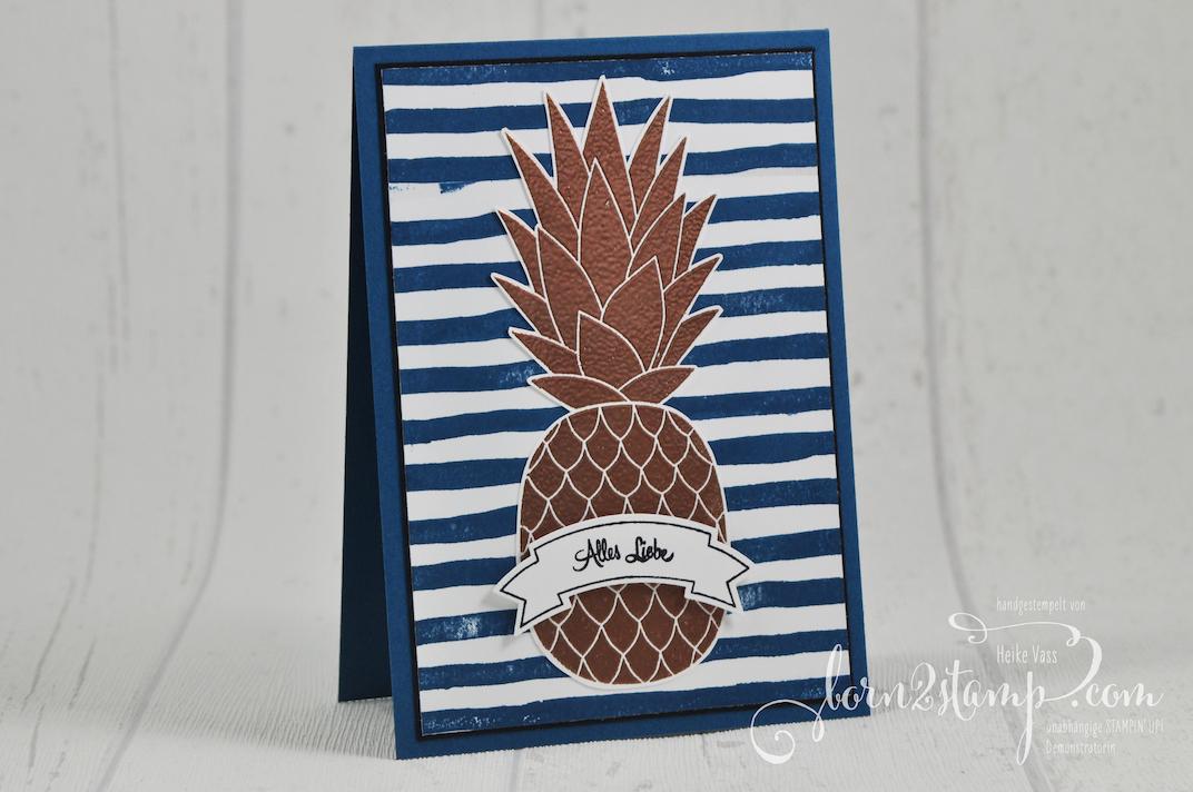 born2stamp STAMPIN' UP! Grusskarte – Pineapple – Bannerweise Gruesse – Brushstrokes – Embossing