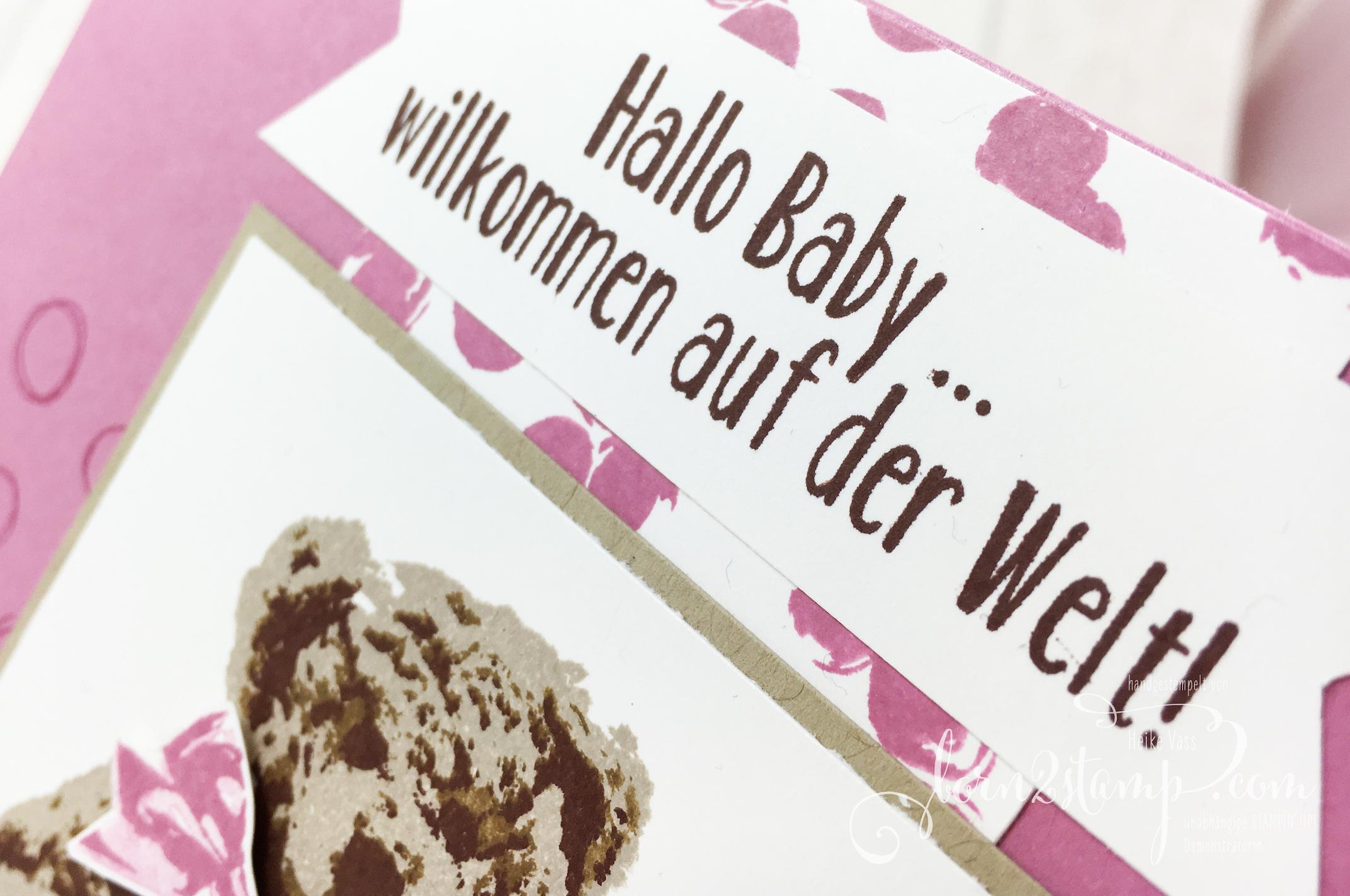 born2stamp STAMPIN' UP! Babykarte – Unentbärliche Gruesse – Playful Backgrounds