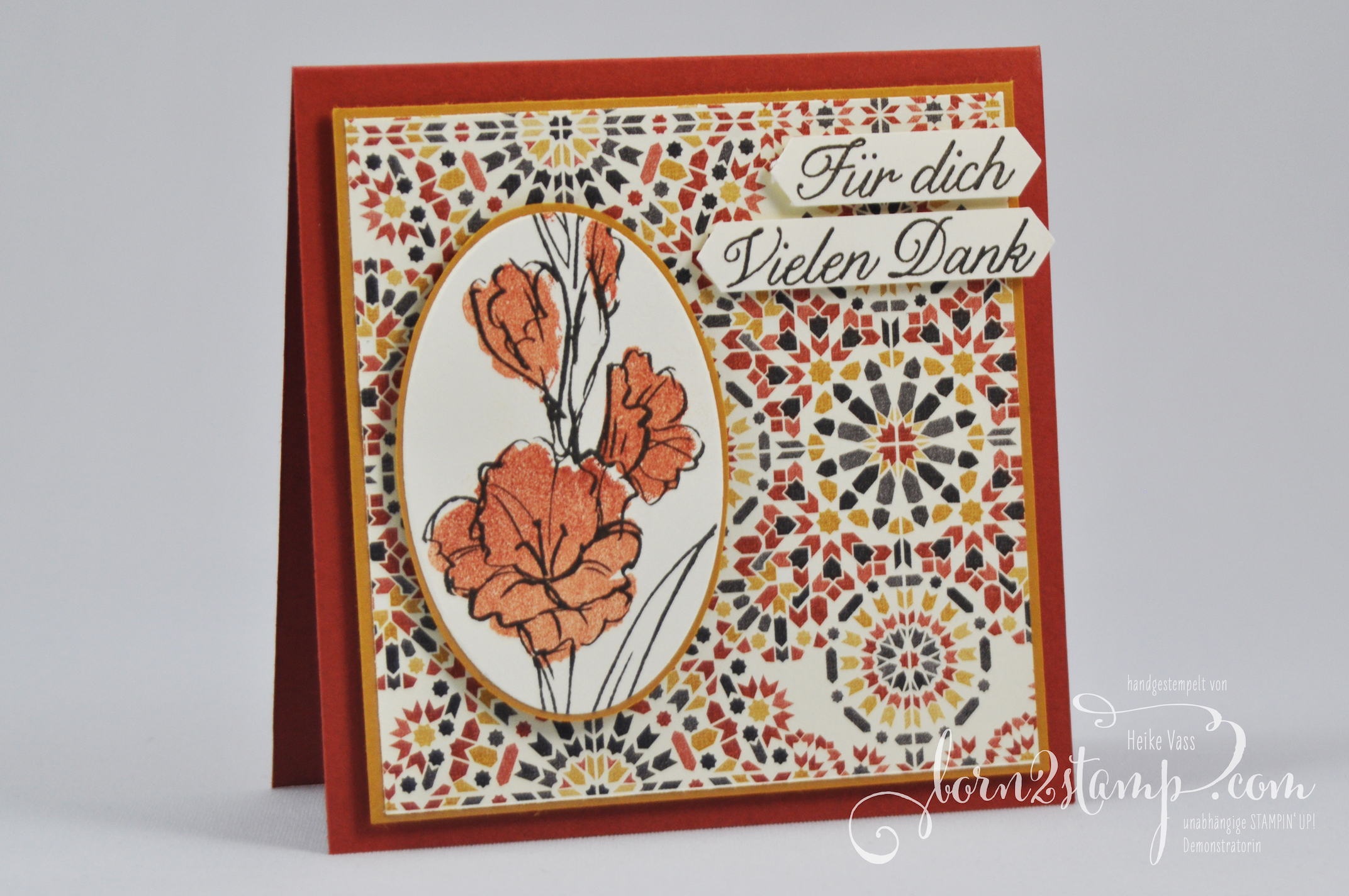 born2stamp STAMPIN' UP! Dankeskarte – Aus Liebe – DSP Marokko