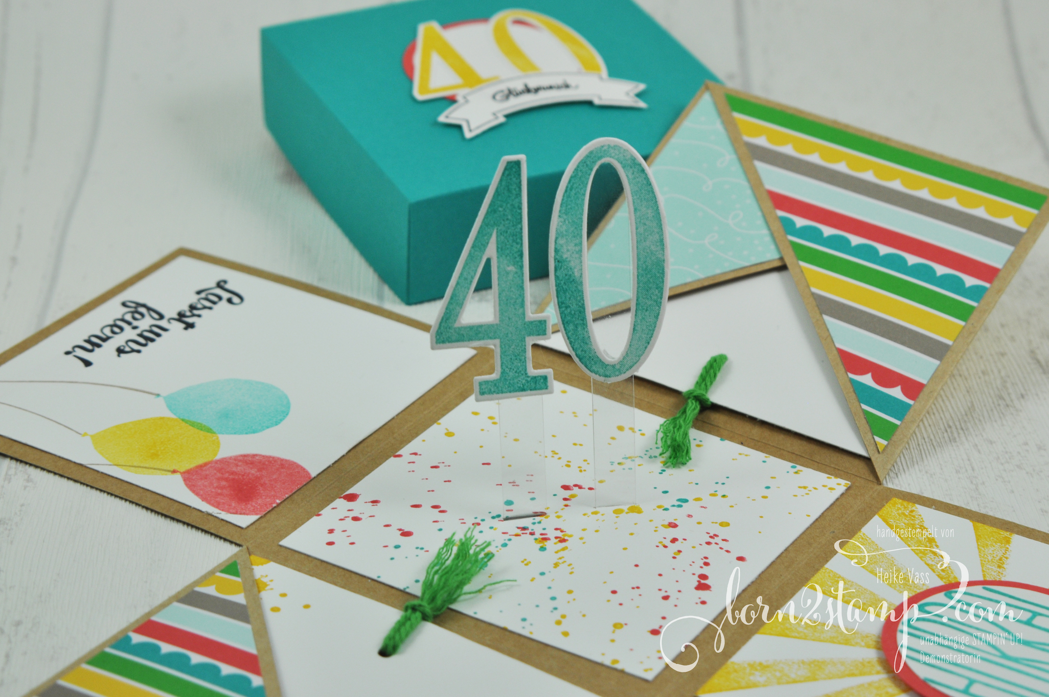 born2stamp STAMPIN' UP! Explosionsbox – Geburtstag – DSP Bunte Party – Konfetti-Gruesse – Gorgeous Grunge – Partyballons – So viele Jahre