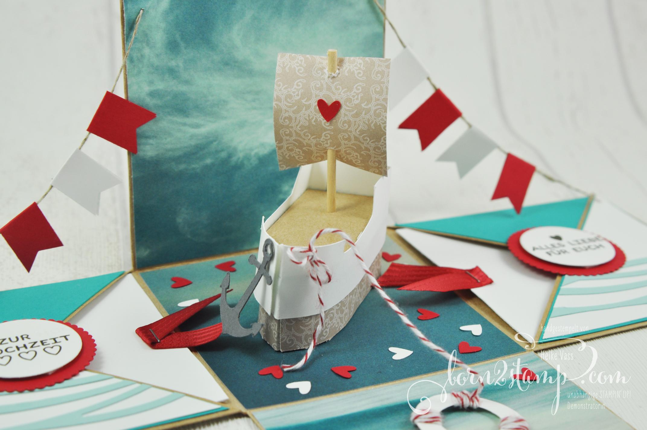 born2stamp STAMPIN' UP! Explosionsbox Hochzeit – wedding – Boot – Rosenzauber – Designer Grusselemente – DSP im Block Stille Natur