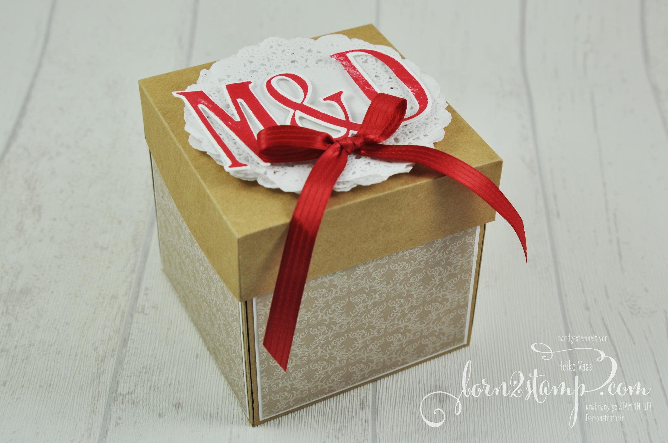 born2stamp STAMPIN' UP! Explosionsbox Hochzeit – wedding – Letters for you – Spitzendeckchen