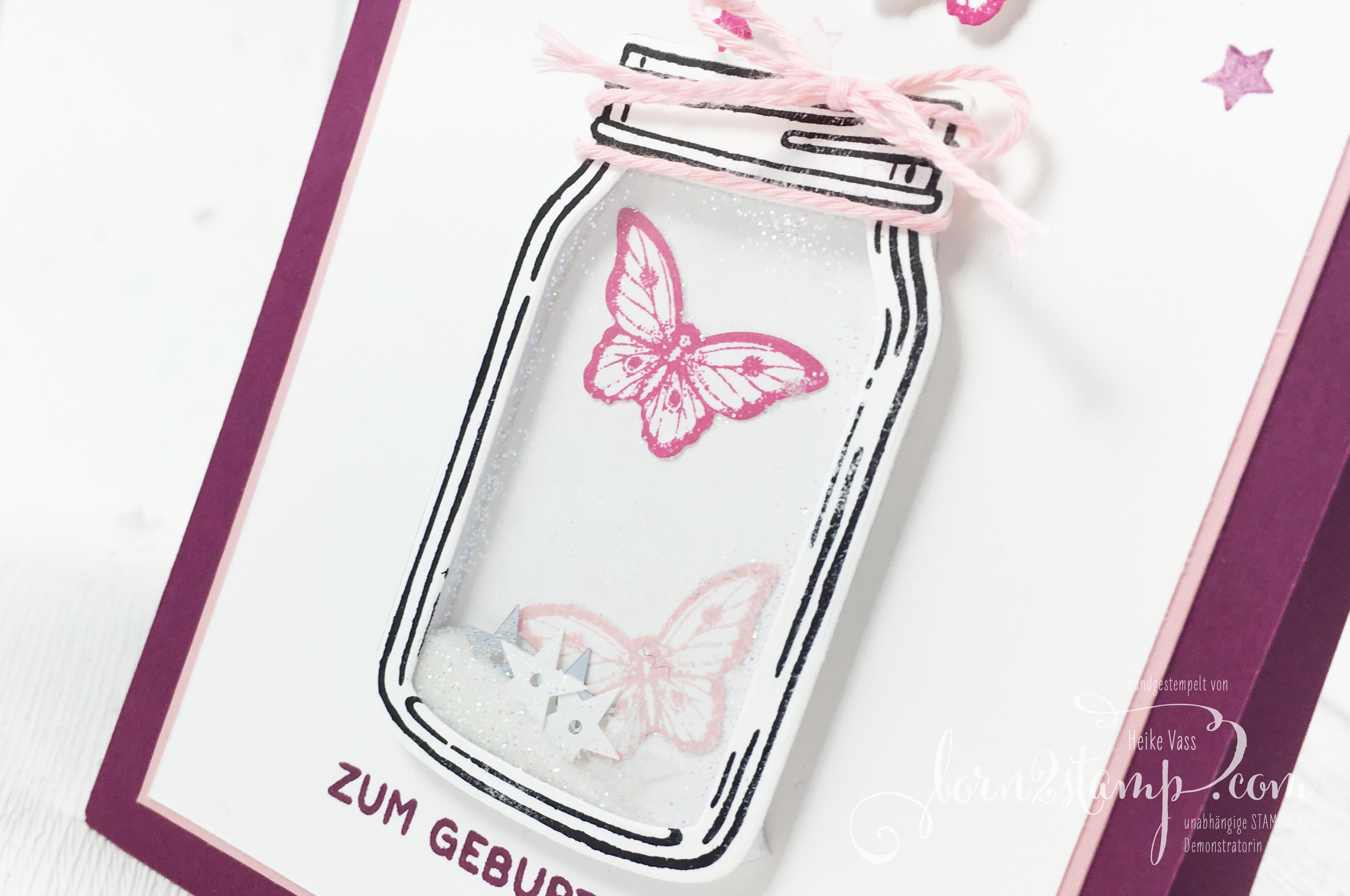 born2stamp STAMPIN' UP! Geburtstagskarte Glasklare Gruesse – Papillon Potpourri – Bannerweise Gruesse 3