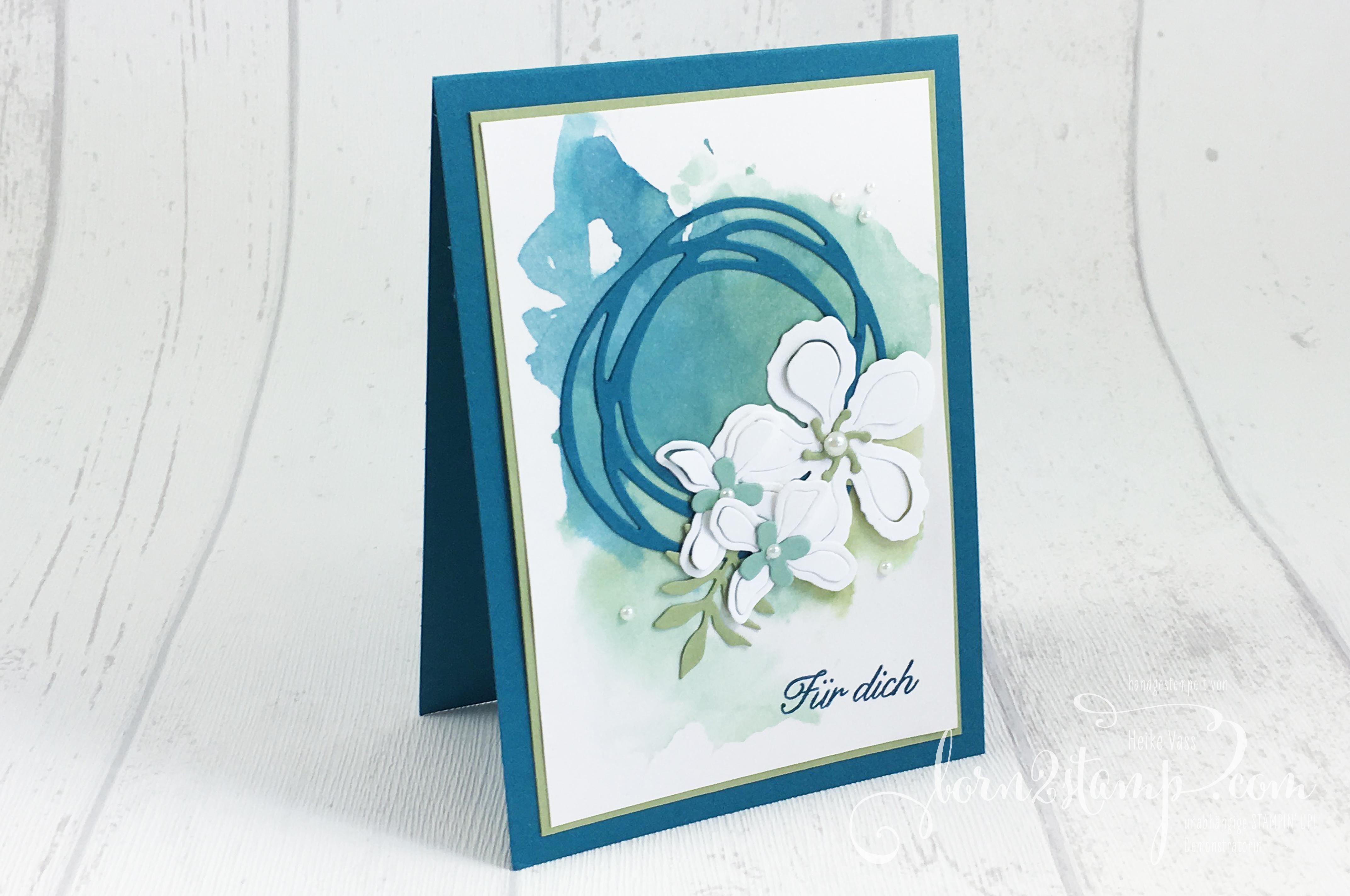 born2stamp STAMPIN' UP! Grusskarte – Botanical Bloom – Thinlits Wunderbar verwickelt – Seidenglanzpapier 1