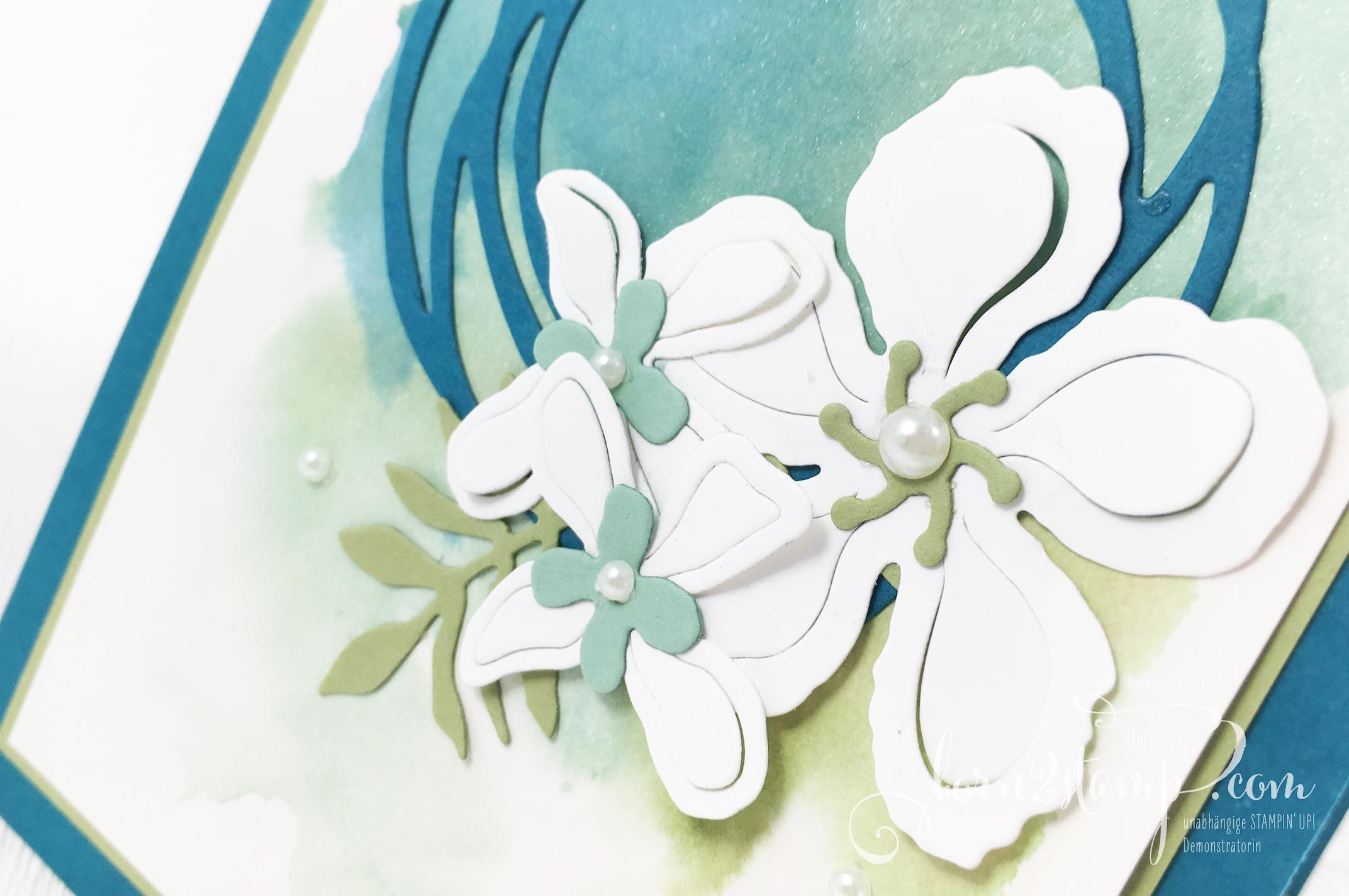 born2stamp STAMPIN' UP! Grusskarte – Botanical Bloom – Thinlits Wunderbar verwickelt – Seidenglanzpapier