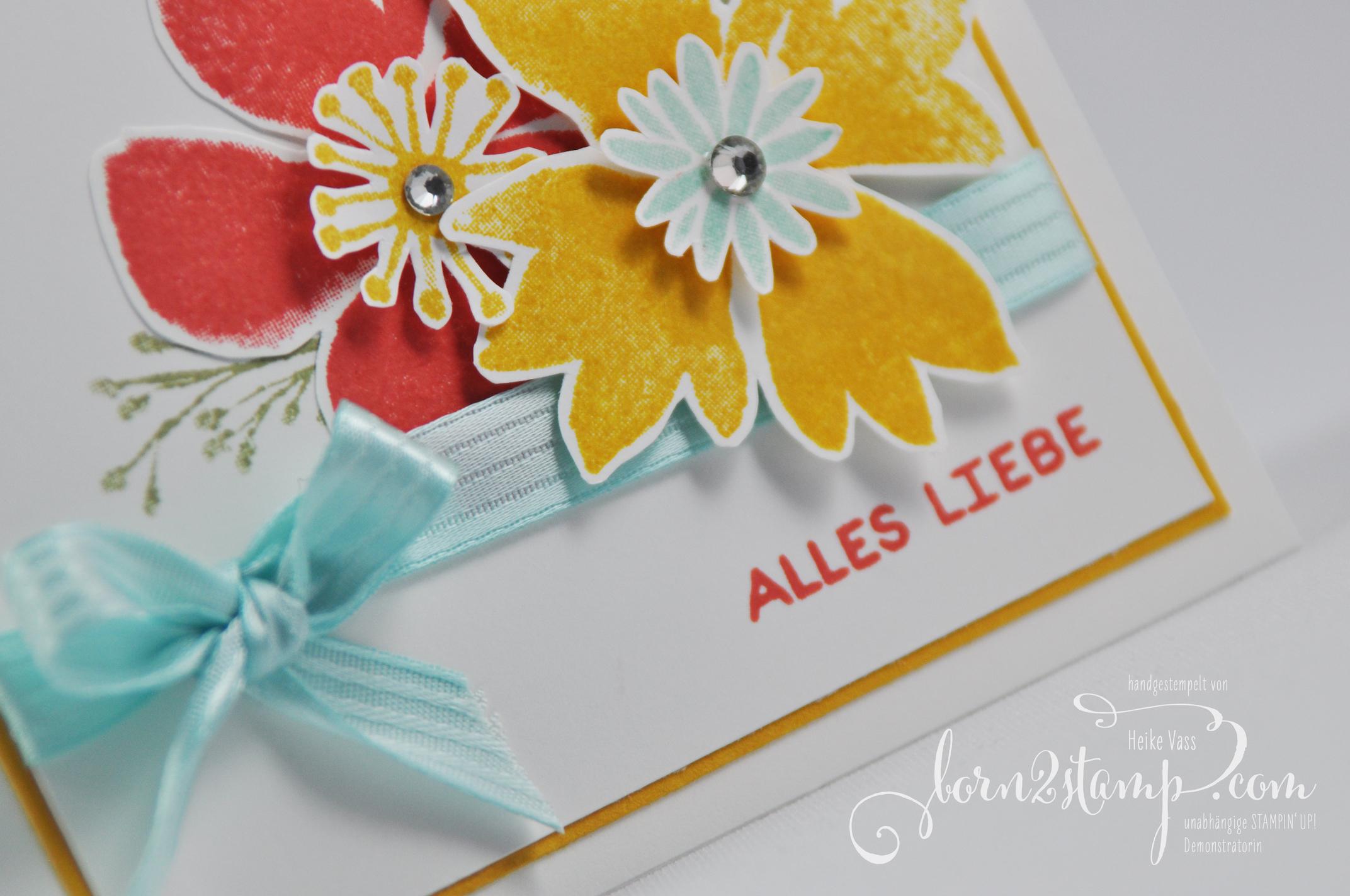 born2stamp STAMPIN' UP! – Durch die Blume – Designer-Grusselemente – besticktes Satinband