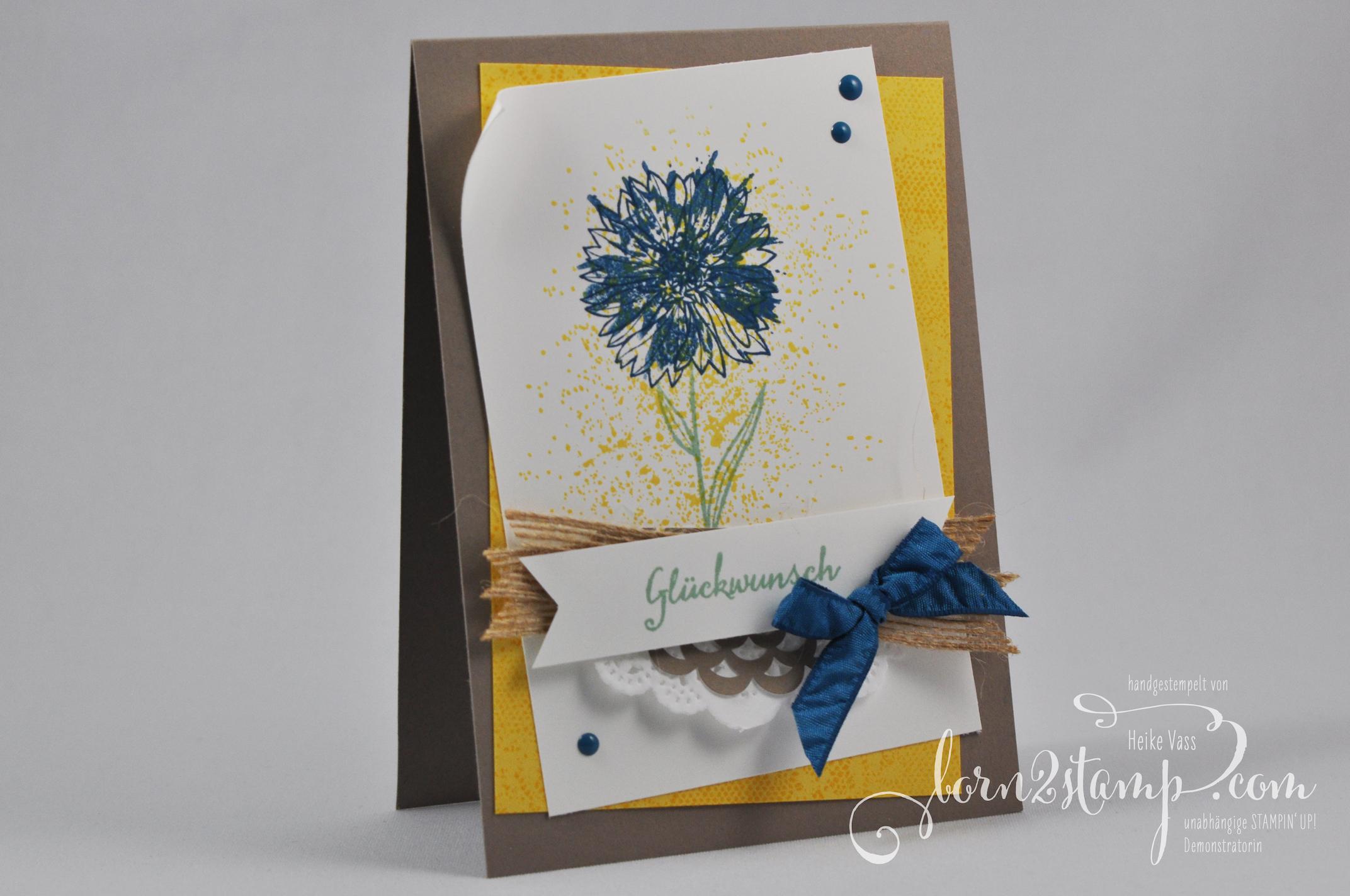 born2stamp STAMPIN' UP! Geburtstagskarte – Touches of Texture – Partyballons – Spitzendeckchen – Juteband – Lack-Akzente