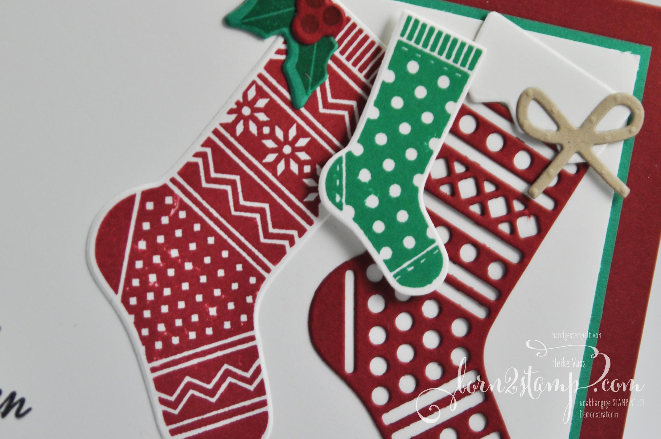 born2stamp STAMPIN' UP! Weihnachtskarte – Von den Socken – Thinlits Weihnachtsstruempfe