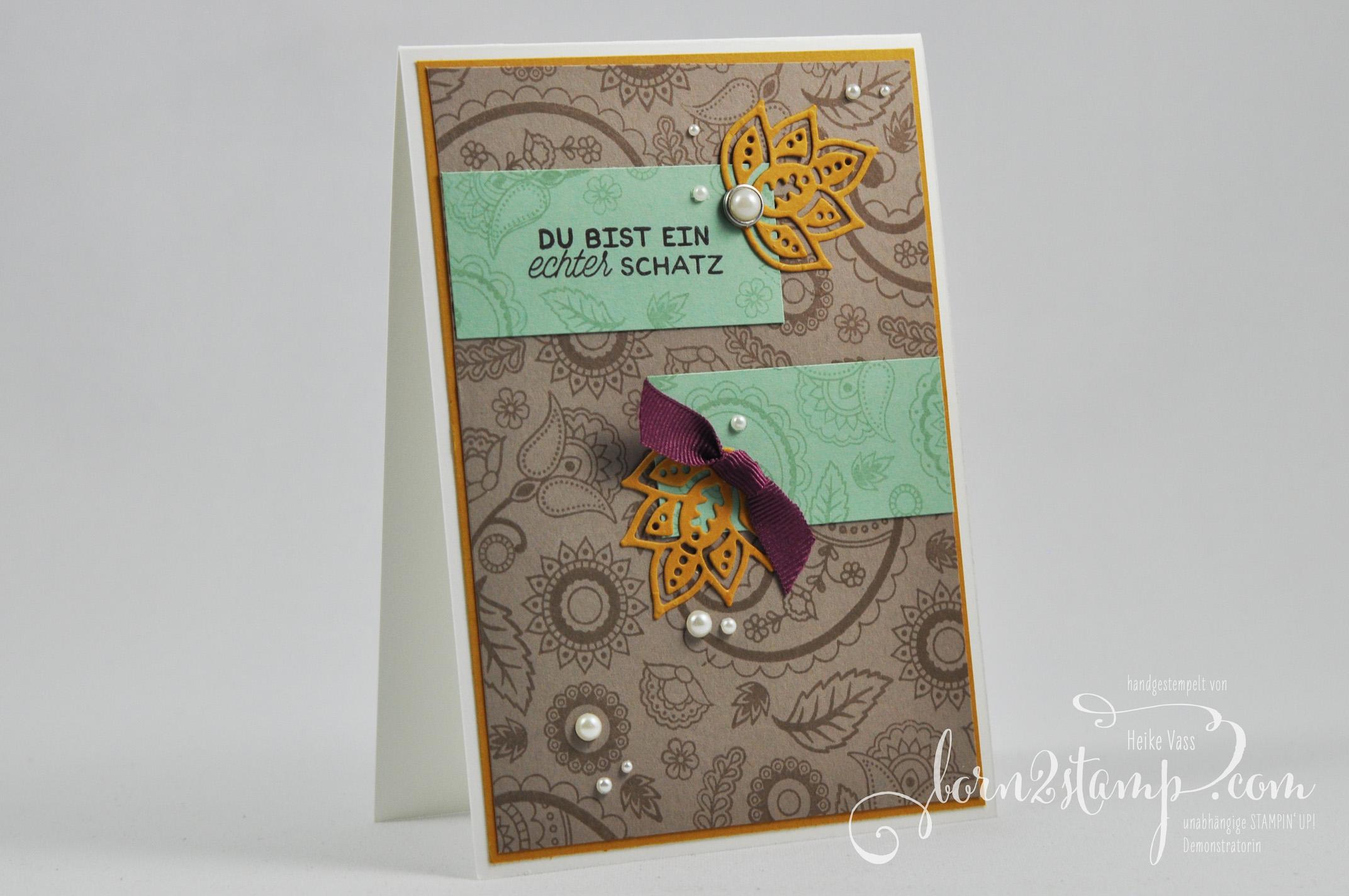 born2stamp STAMPIN' UP! IN{K}SPIRE_me Grusskarte – Paisleys & Poesies – Designer-Grusselemente – Perlen mit Metallrand