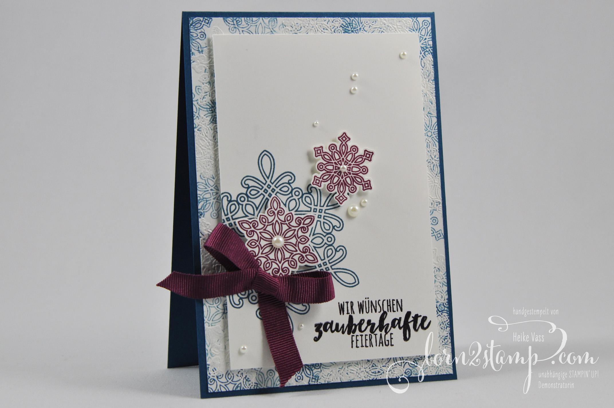 born2stamp STAMPIN' UP! Weihnachtskarte Flockenzauber Tannenzauber Geschenkband im Dreierpack