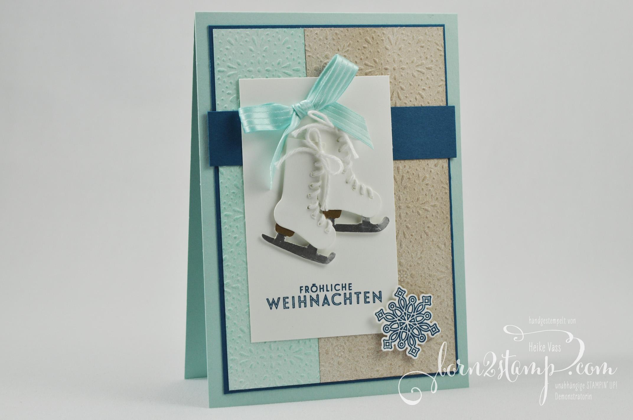born2stamp STAMPIN' UP IN{K}SPIRE_me Weihnachtskarte – Von den Socken – Flockenzauber – DSP Eisfantasie