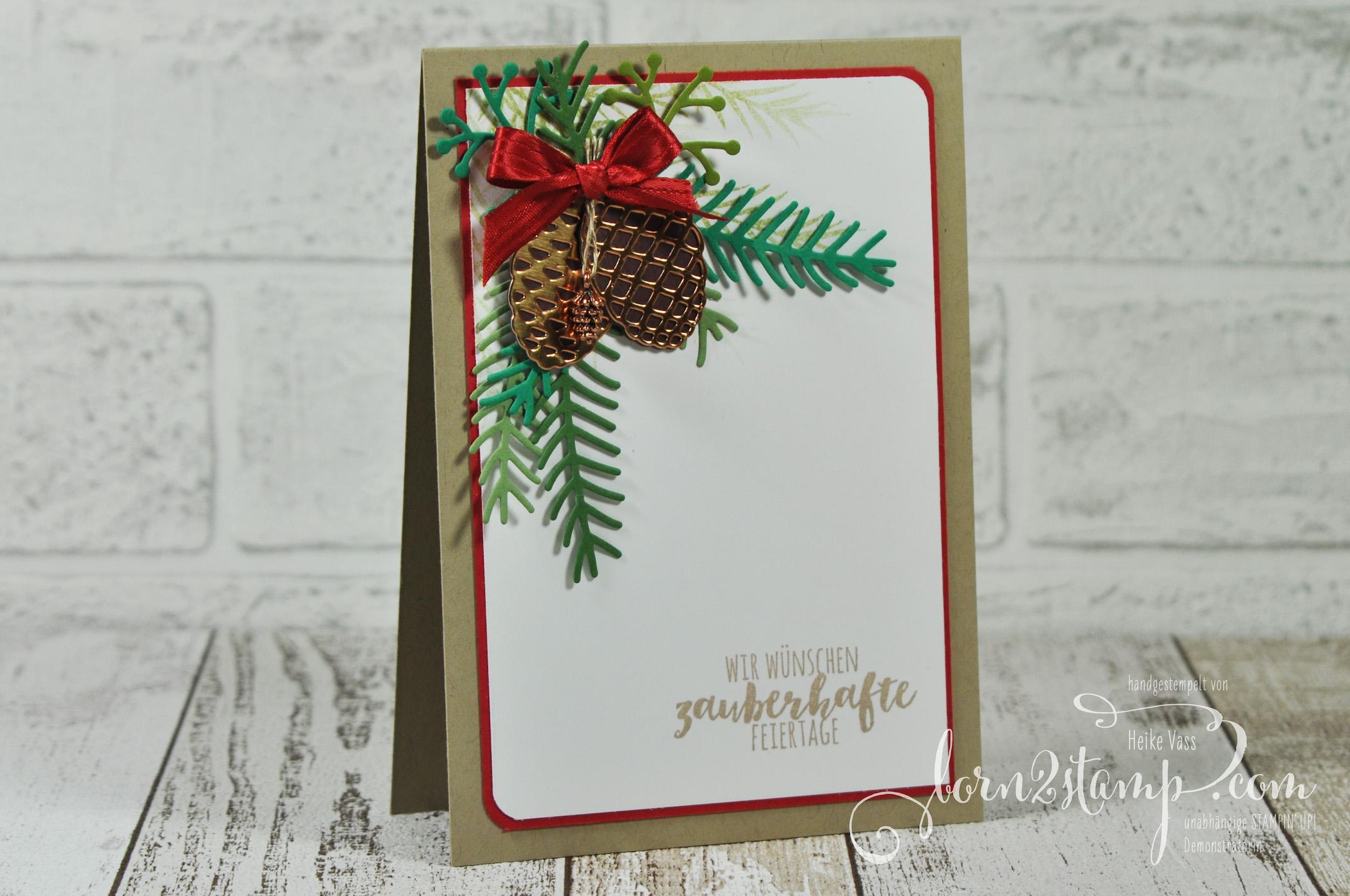 born2stamp STAMPIN' UP! Weihnachtskarte – Tannenzauber – Thinlits Tannen und Zapfen – Mini-Tannenzapfen
