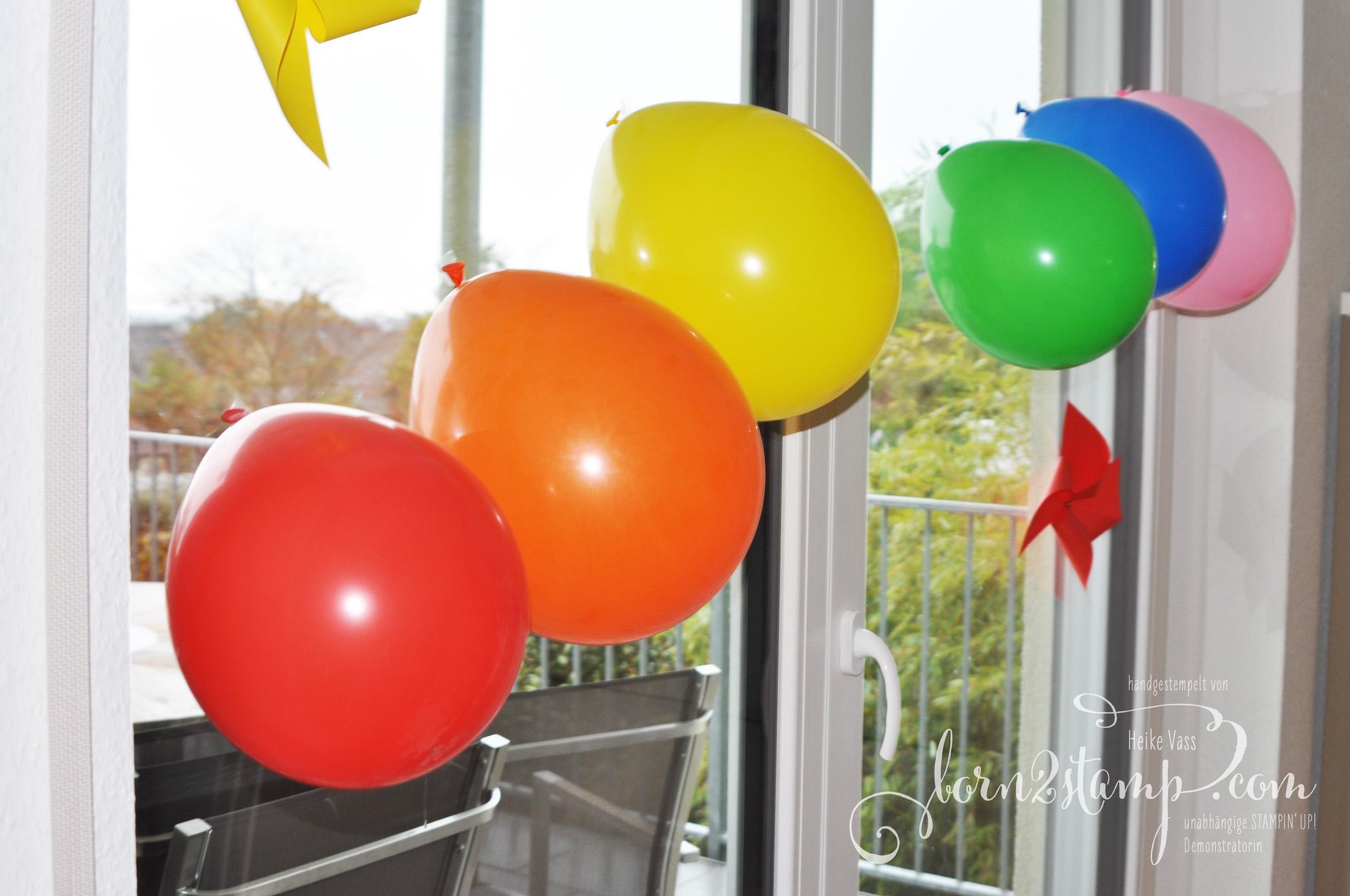 born2stamp STAMPIN' UP! Regenbogenparty Geburtstag Deko