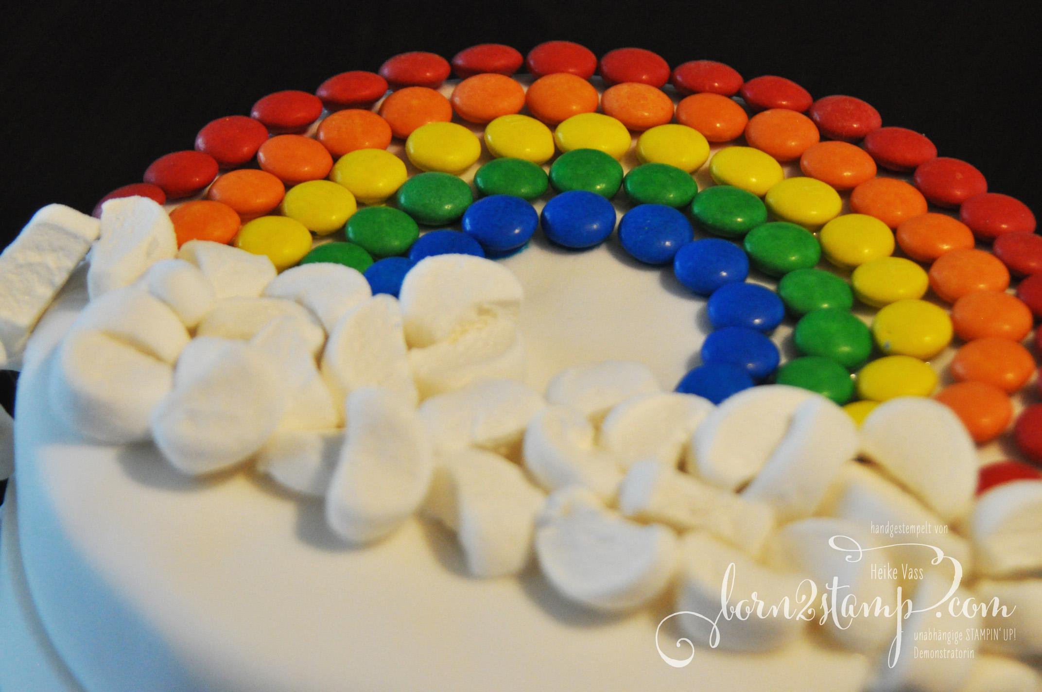 born2stamp STAMPIN' UP! Regenbogenparty Geburtstag Torte