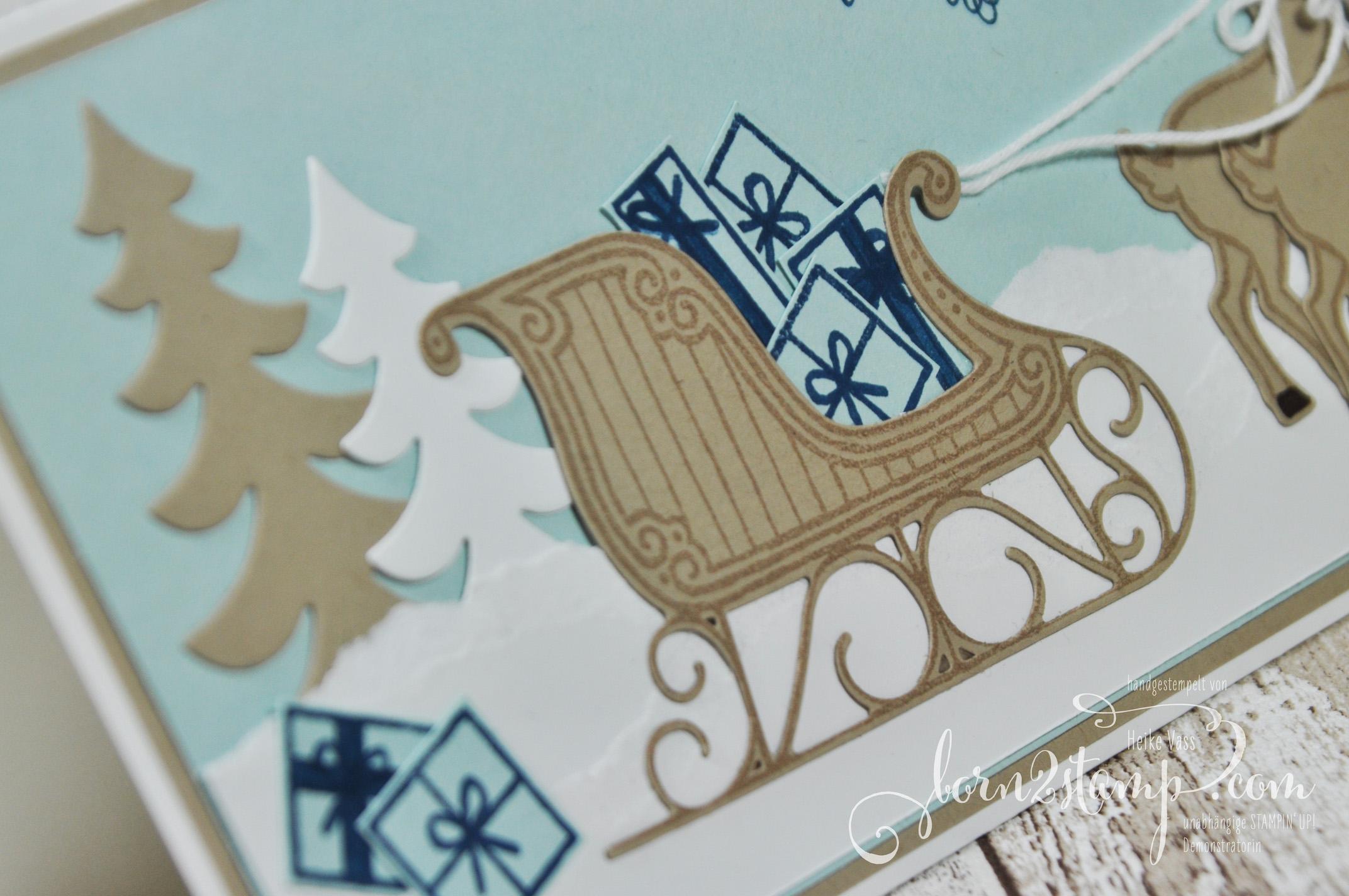 born2stamp STAMPIN' UP! Weihnachtskarte – Weihnachtsschlitten