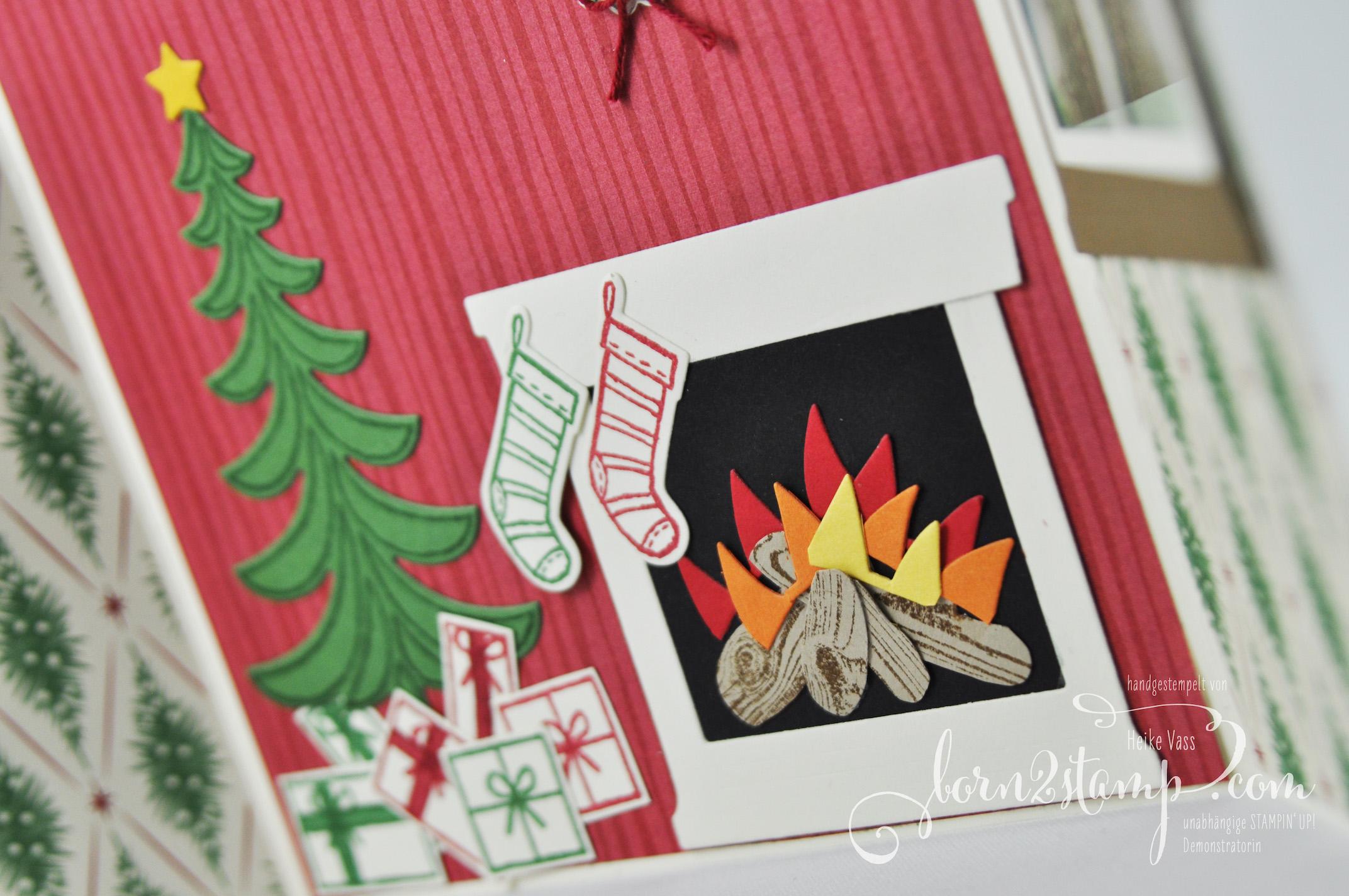 born2stamp STAMPIN' UP! IN{K}SPIRE_me  Weihnachtskarte – Weihnachtsschlitten – Fröhliche Weihnachten – Ballon Framelits – Framelits Am Kamin