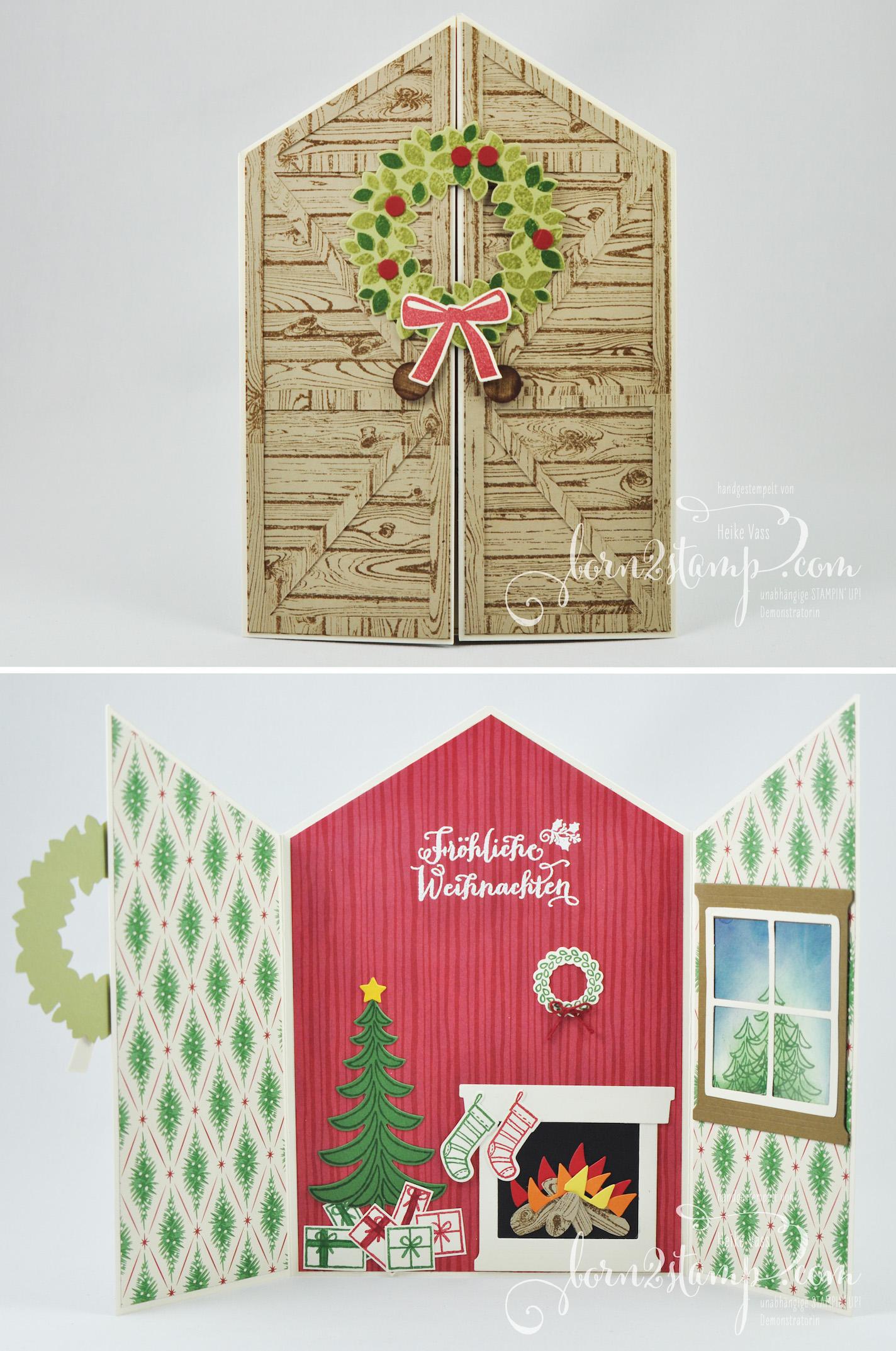 born2stamp STAMPIN' UP! IN{K}SPIRE_me – Weihnachtskarte – Weihnachtsschlitten – Fröhliche Weihnachten – Ballon Framelits – Willkommen Weihnacht – Hardwood