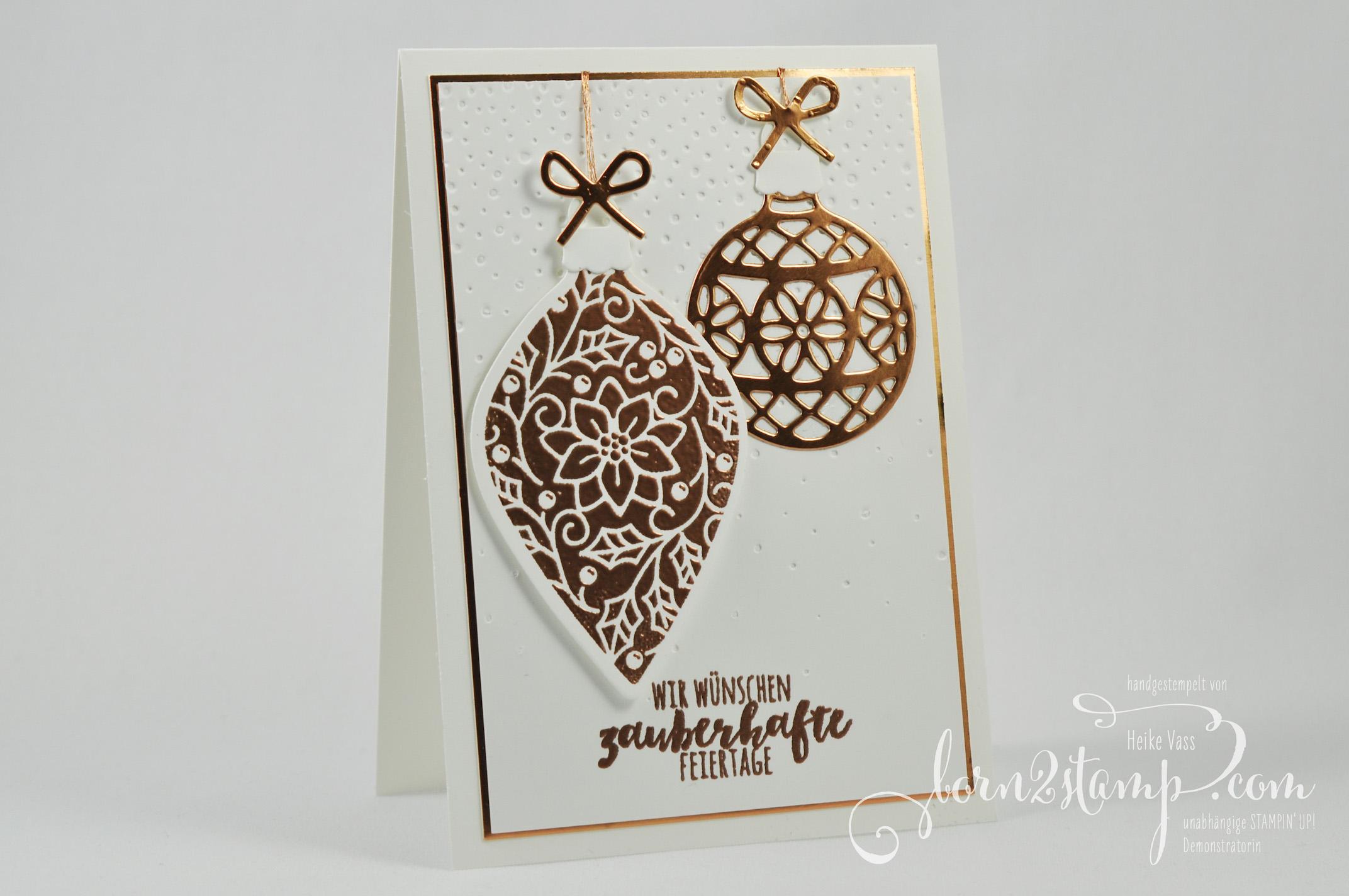 born2stamp STAMPIN' UP! INKSPIRE_me – Weihnachtskarte – Zauberhafte Zierde – Tannenzauber – Thinlits Am Christbaum – Thinlits Weihnachtsstruempfe