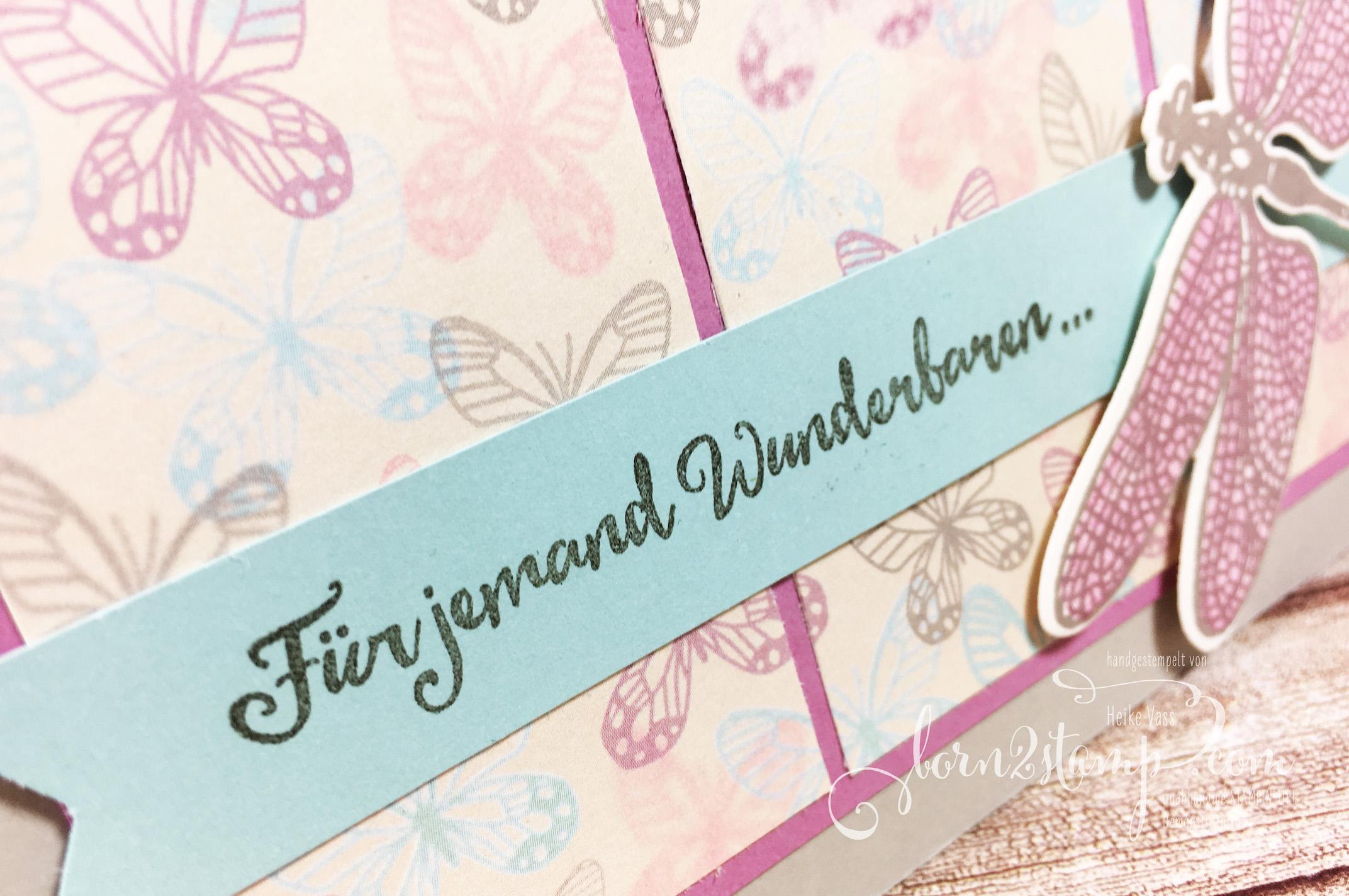 born2stamp STAMPIN' UP! Geburtstagskarte – Li(e)belleien – Thinlits Libelle – DSP Zum Verlieben