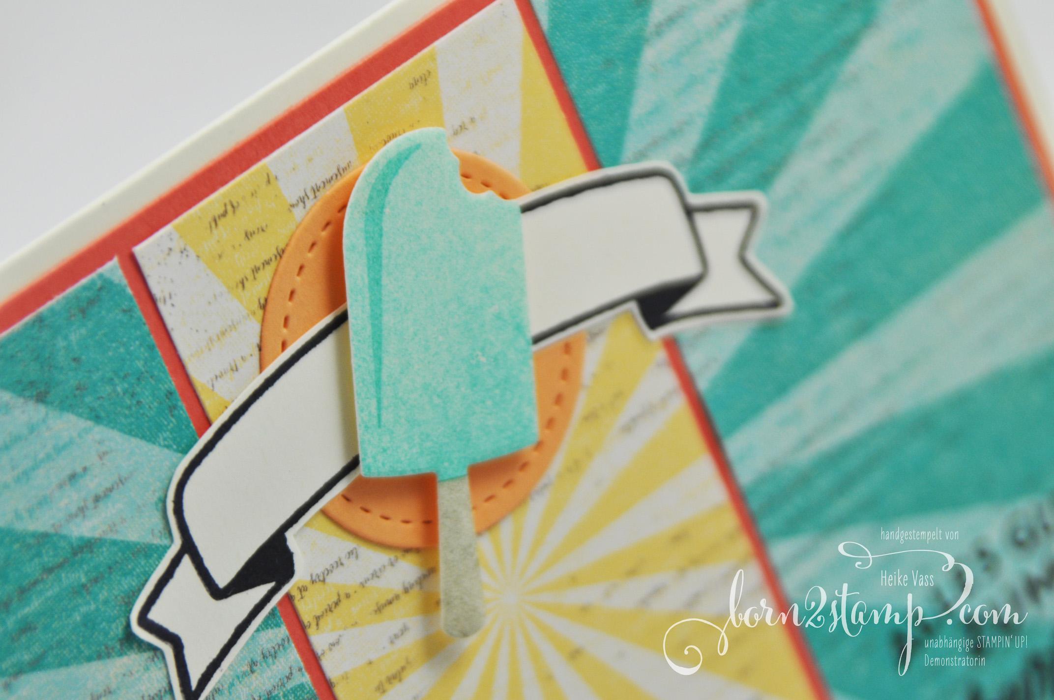 born2stamp STAMPIN' UP! INKSPIRE_me Geburtstagskarte – Eis Eis Baby – DSP Cupcakes und Karussells – Geburtstagshurra