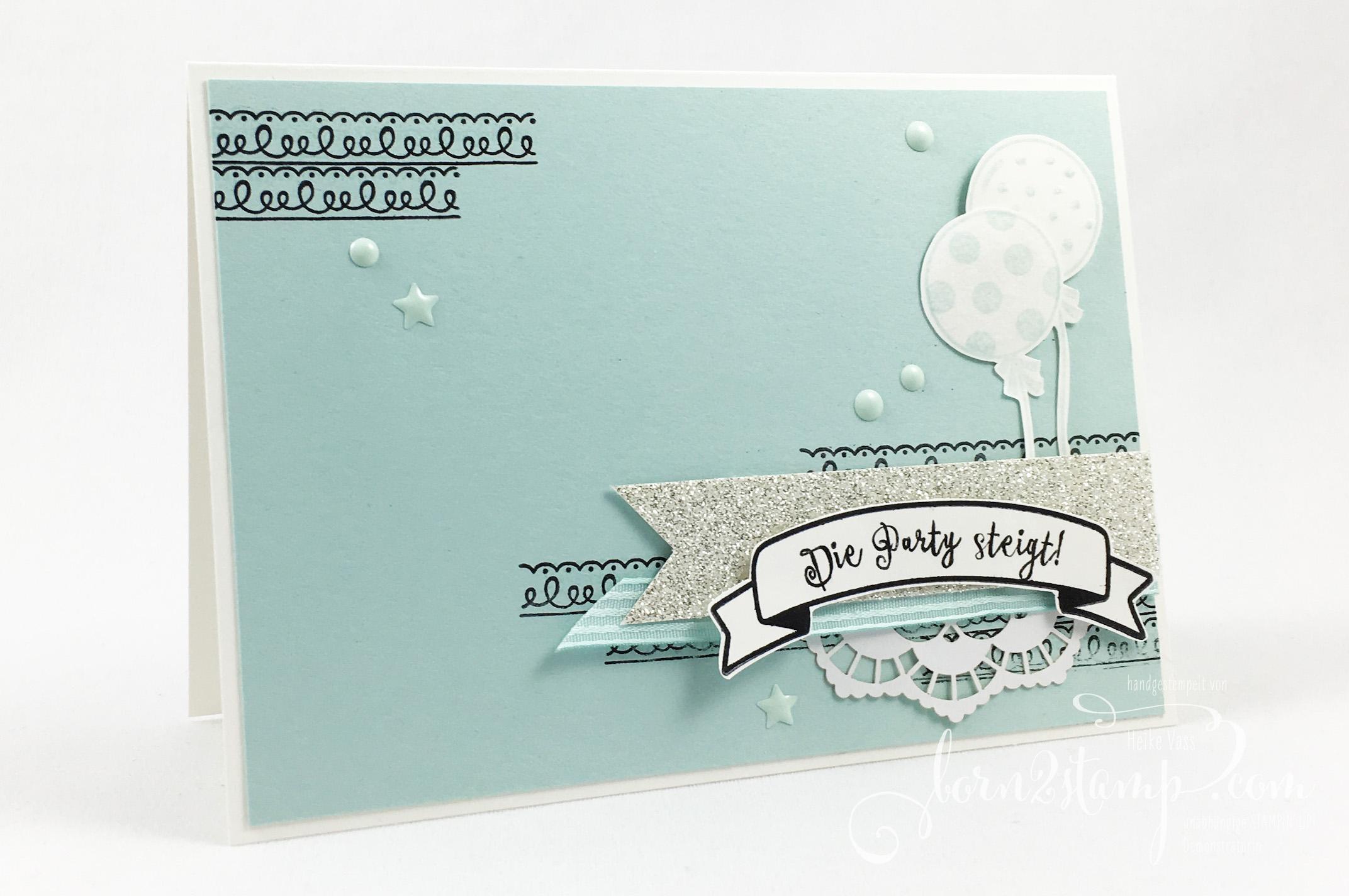 born2stamp STAMPIN' UP! IN{K}SPIRE_me Geburtstagskarte – Geburtstagshurra – Ballonparty – Delicate Details – Zierdeckchen – Lackakzente