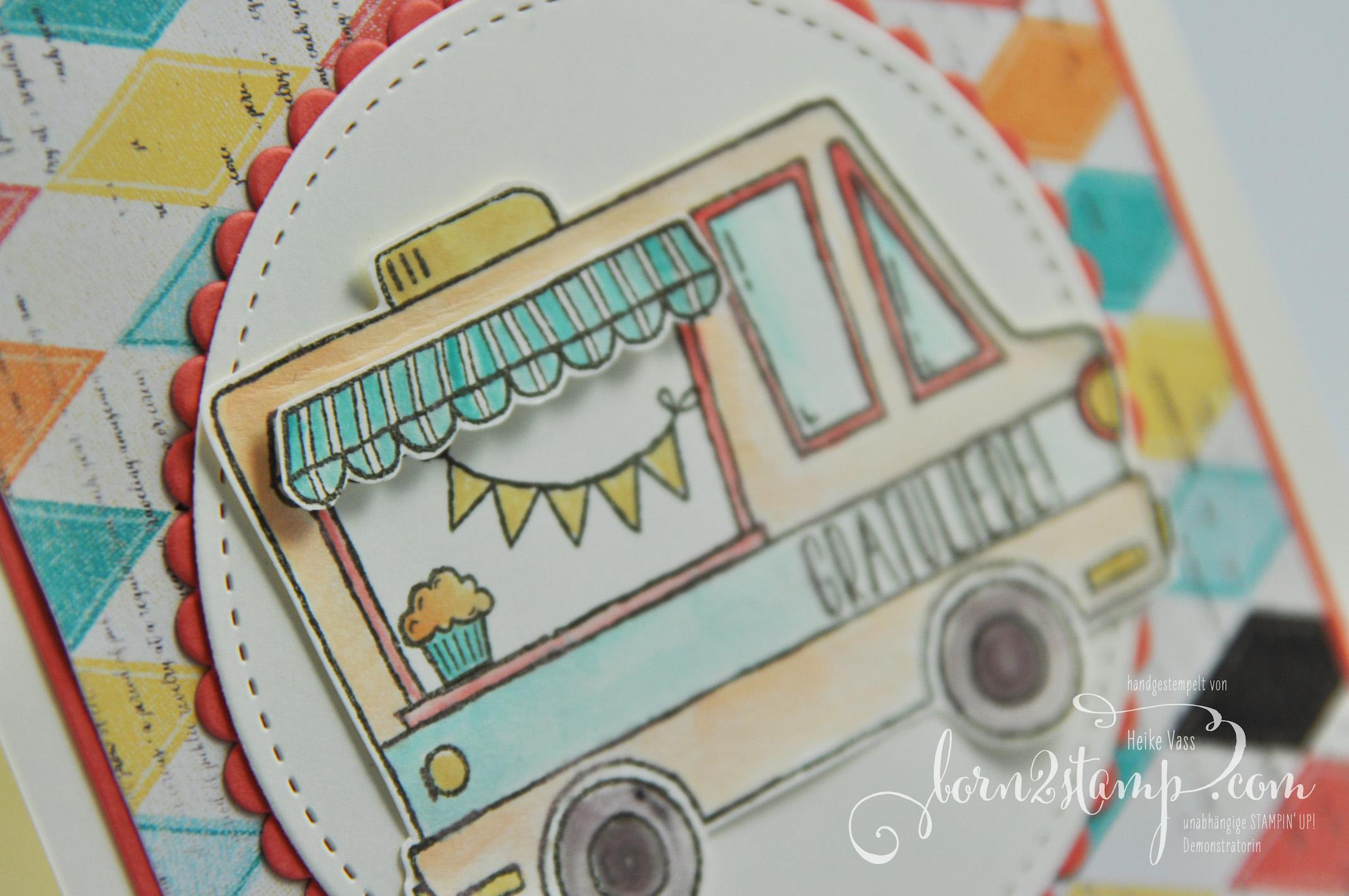 born2stamp STAMPIN' UP! Grusskarte – DSP Cupcakes und Karussells – Lecker-Laster – Klare Aussage