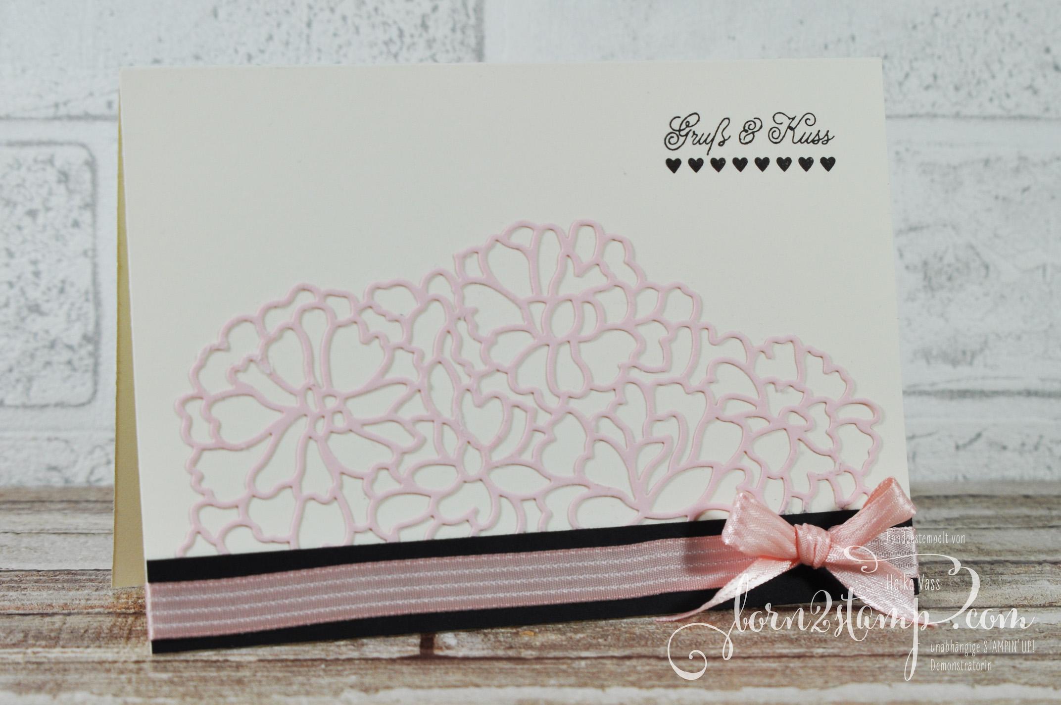 born2stamp STAMPIN' UP! Valentinskarte – Mit Gruss und Kuss – Thinlits Mit Liebe zum Detail