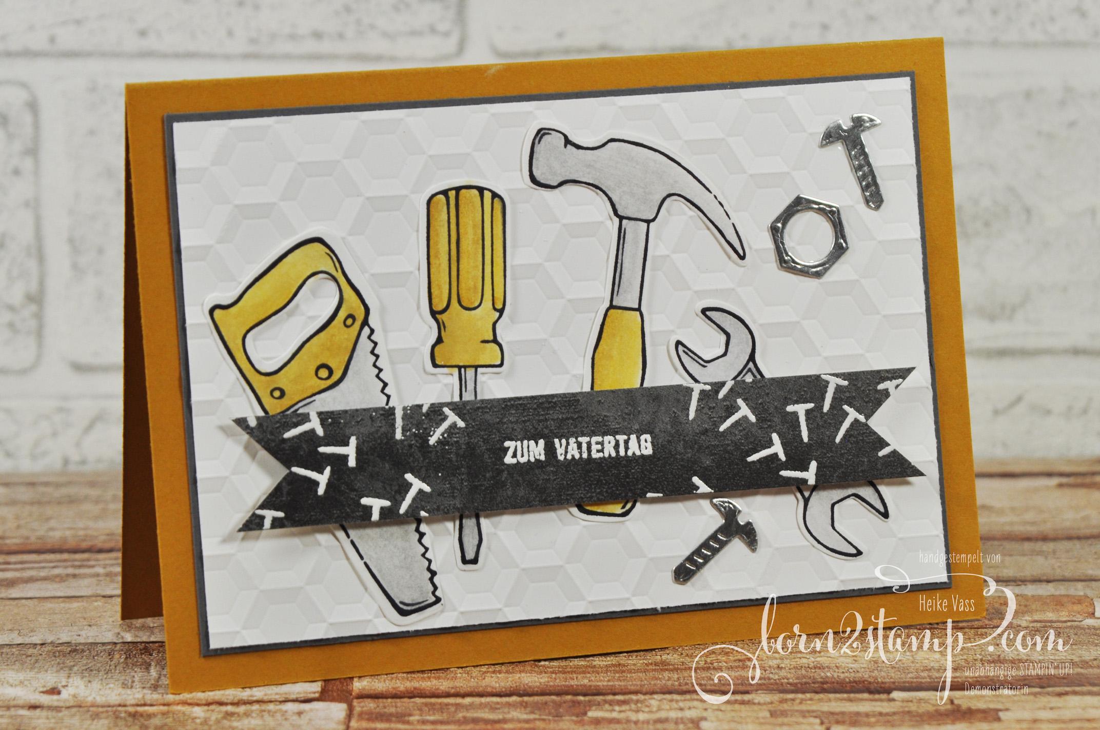 born2stamp STAMPIN' UP! Hammer – Framelits Werkzeugkasten – DSP Unvergleichlich urban – Big Shot Sechseck – Aquapainter