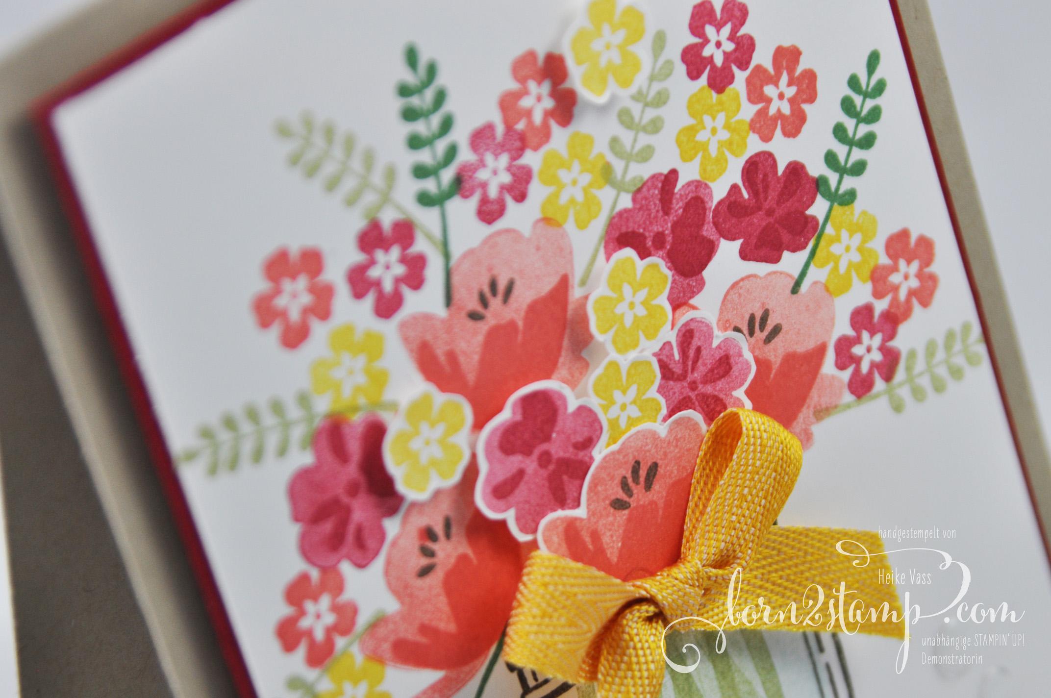 born2stamp STAMPIN' UP! INKSPIRE_me Muttertagskarte – Glasklare Gruesse – Akzente Brillantweiss
