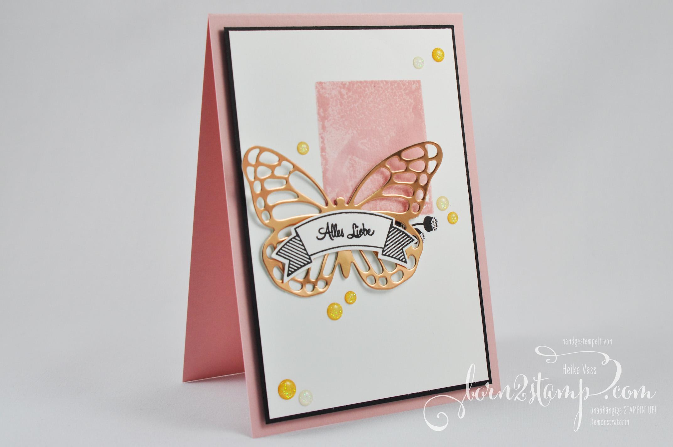 born2stamp STAMPIN' UP! IN{K}SPIRE_me – Geburtstagschallenge – Thinlits Schmetterlinge – Bannerweise Grüße – Alles Liebe Geburtstagskind
