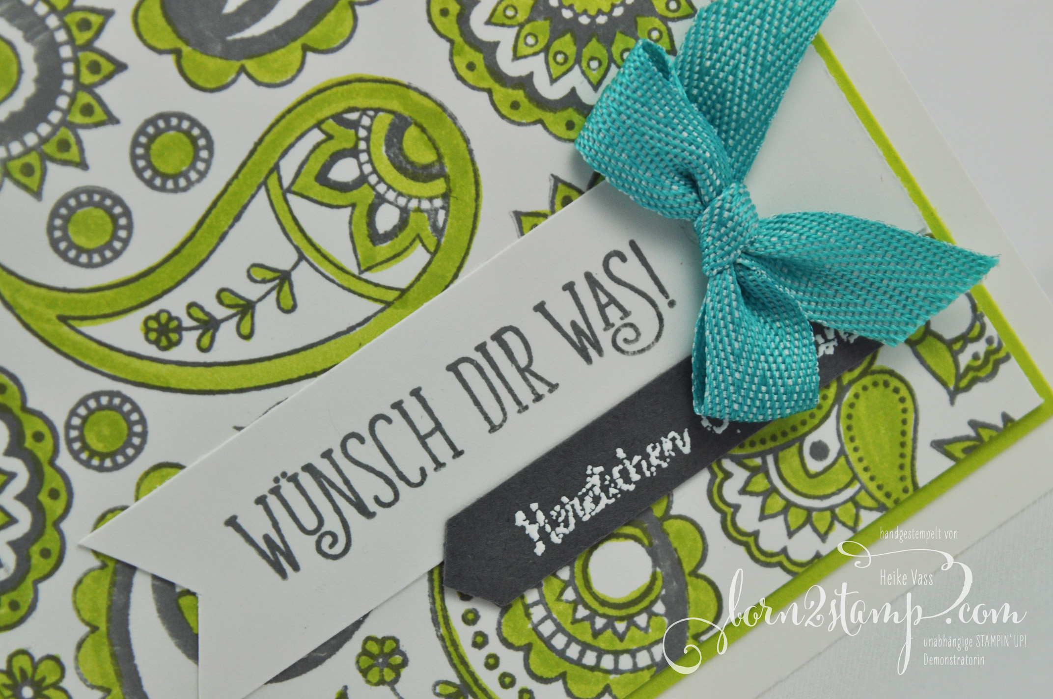 born2stamp STAMPIN' UP! IN{K}SPIRE_me – Geburtstagskarte – Paisleys & Posies – Alles Liebe Geburtstagskind – Mini-Fischgraetmuster