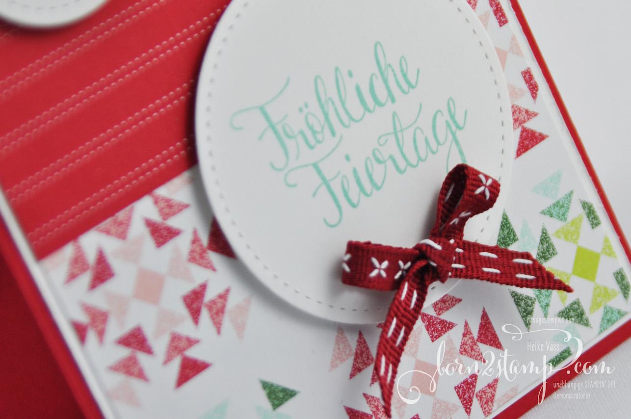 born2stamp STAMPIN' UP! IN{K}SPIRE_me Weihnachtskarte – Malerische Weihnachten – Framelits Stickmuster – DSP Weihnachtsquilt – Geschenkband Kreuzstich