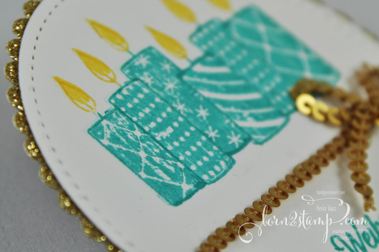 born2stamp STAMPIN' UP! INKSPIRE_me – Weihnachtskarte – Freude im Advent – Glitzerpapier – Paillettenband