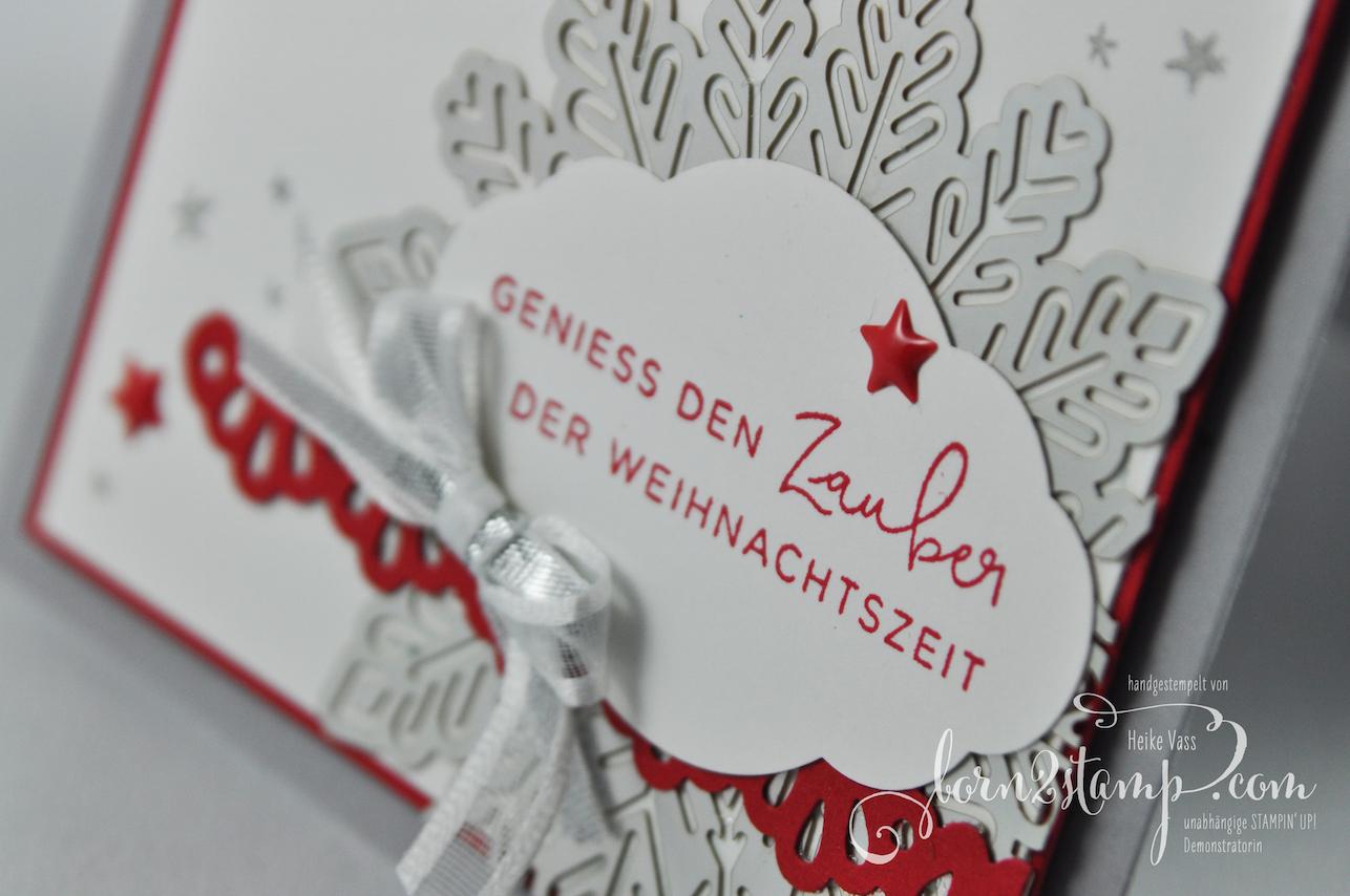 STAMPIN' UP! – IN{K}SPIRE_me – born2stamp – Weihnachtskarte – Weihnachten daheim – Zier-Etikett – Dekobordüre – Metallic-Schneeflocken – Lackakzente 2