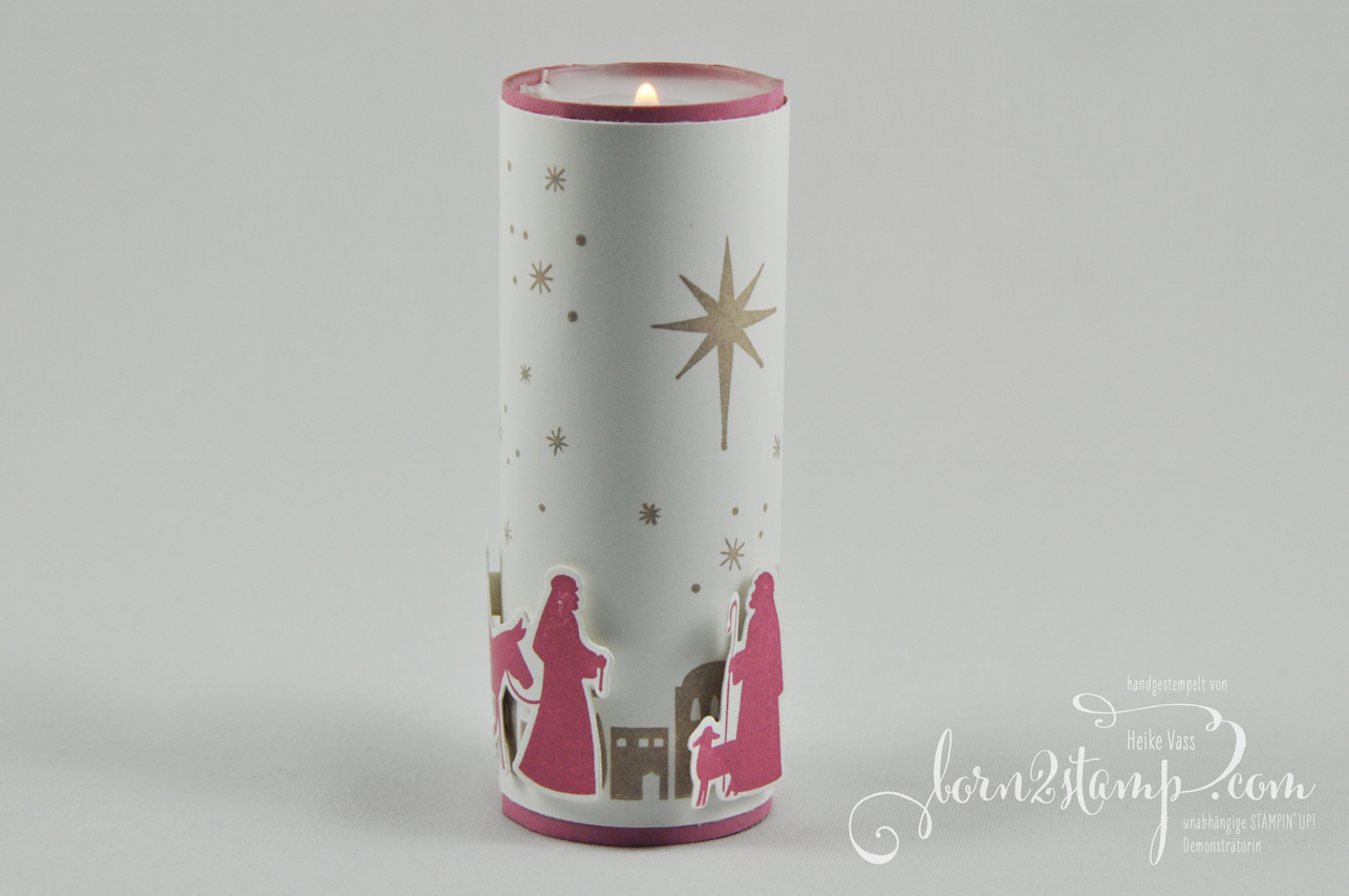 born2stamp STAMPIN' UP! IN{K}SPIRE_me Weihnachts-Special Tischdeko – Heilige Nacht – Edgelits Bethlehem – Organza-Geschenkband – Pergament