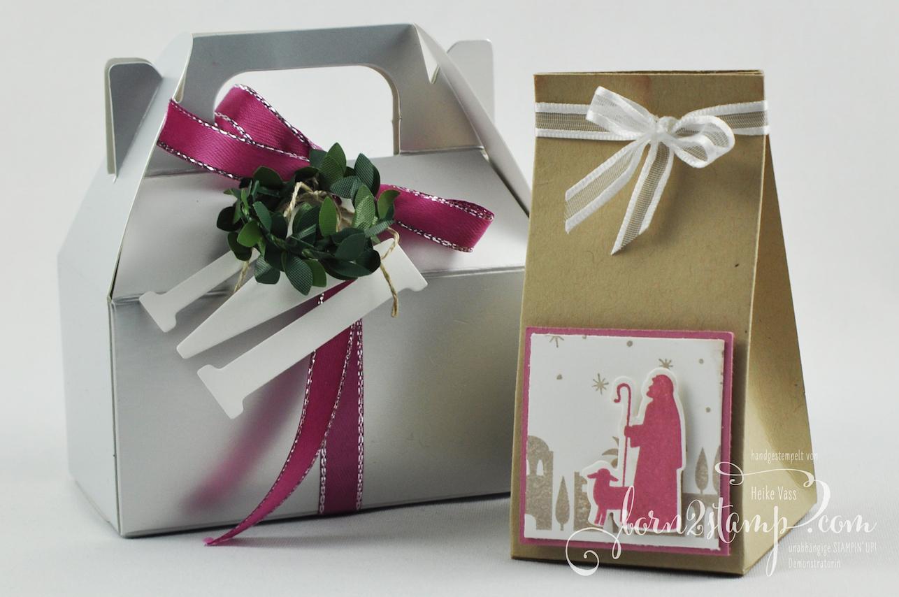 born2stamp STAMPIN' UP! INKSPIRE_me Weihnachts Special Geschenke – Stille Nacht – Bethlehem – Minischachteln – Geschenkband Metallic-Kante – Buchsbaumkranz