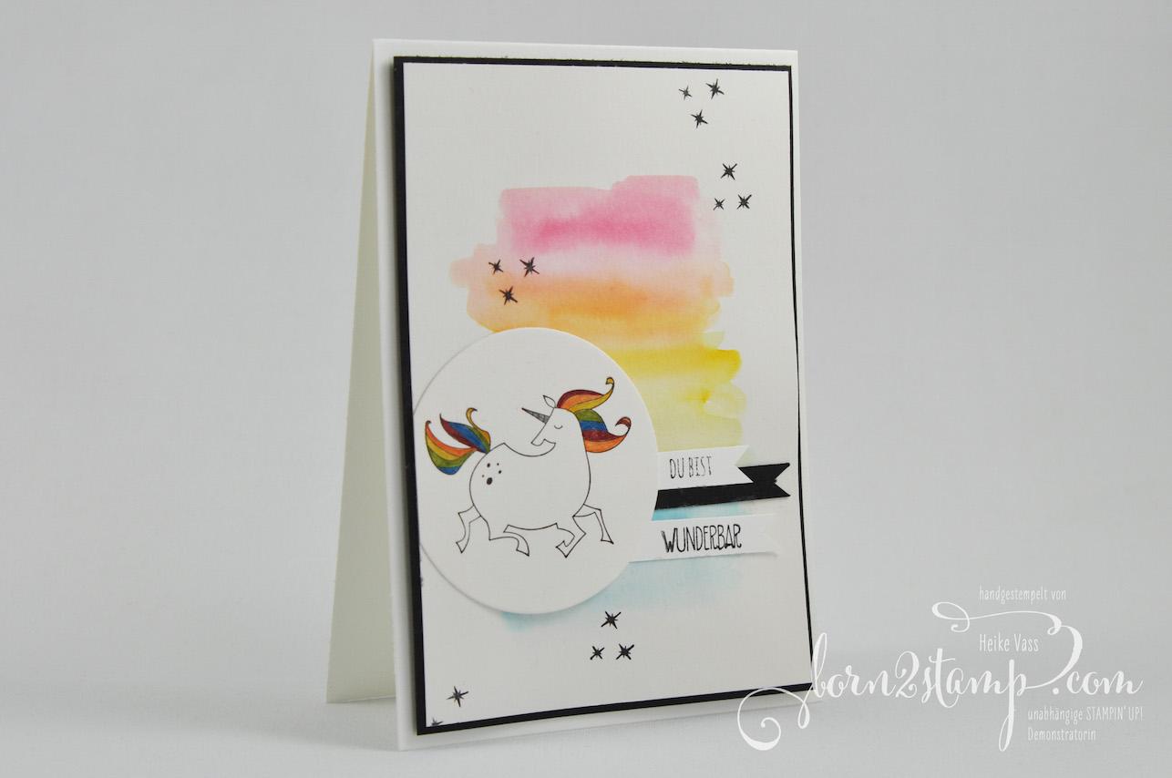 born2stamp STAMPIN' UP! INKSPIRE_me Geburtstagskarte – Zauberhafter Tag – Seidenglanzpapier – Wink of Stella – Wassertankpinsel