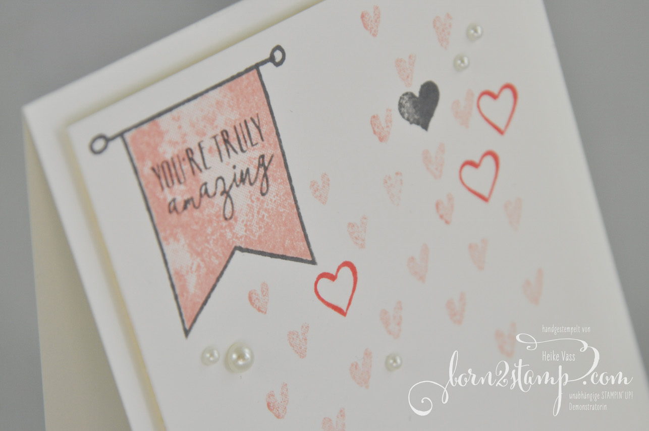 born2stamp STAMPIN' UP! Valentinskarte – Yay you – Heart Hapiness
