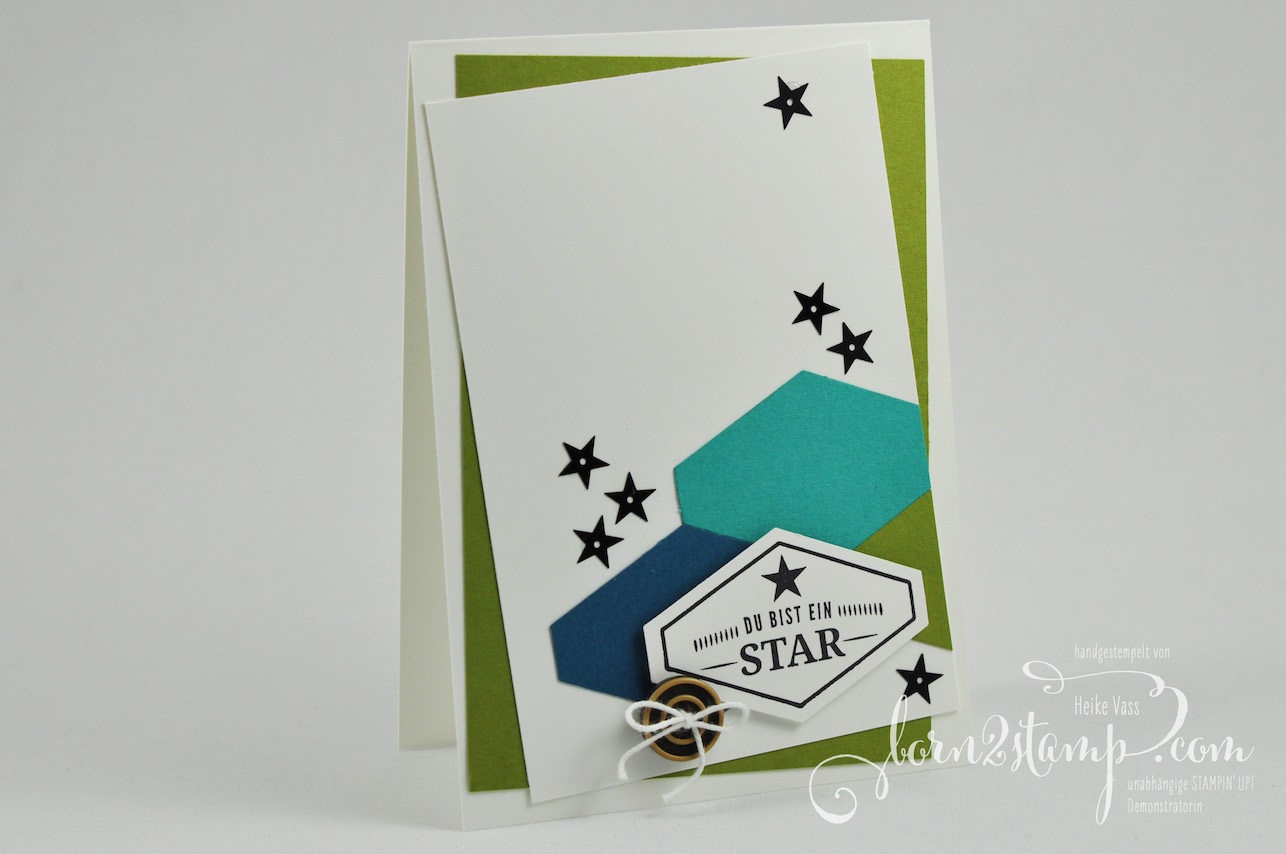 born2stamp STAMPIN' UP! IN{K}SPIRE_me – Geburtstagskarte – Gruss nach Mass – Pailletten – Knoepfe Ganz Gentlemen