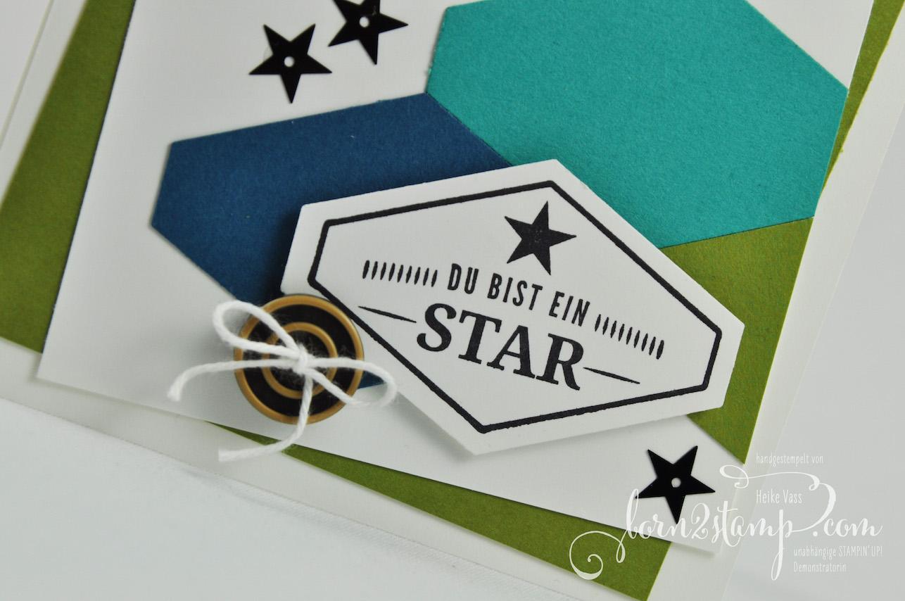 born2stamp STAMPIN' UP! IN{K}SPIRE_me – Geburtstagskarte – Gruss nach Mass – Pailletten – Knoepfe Ganz Gentlemen