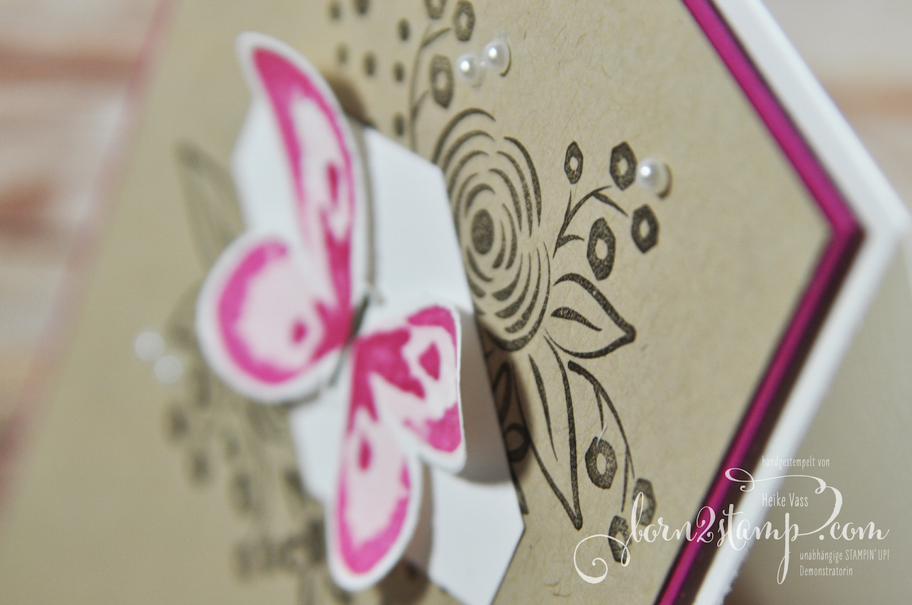 born2stamp STAMPIN' UP! Stamping Techniques to try – Geburtstagskarte – Watercolor Wings – Alle meine Geburtstagsgruesse – InColor – Two Step Stamping