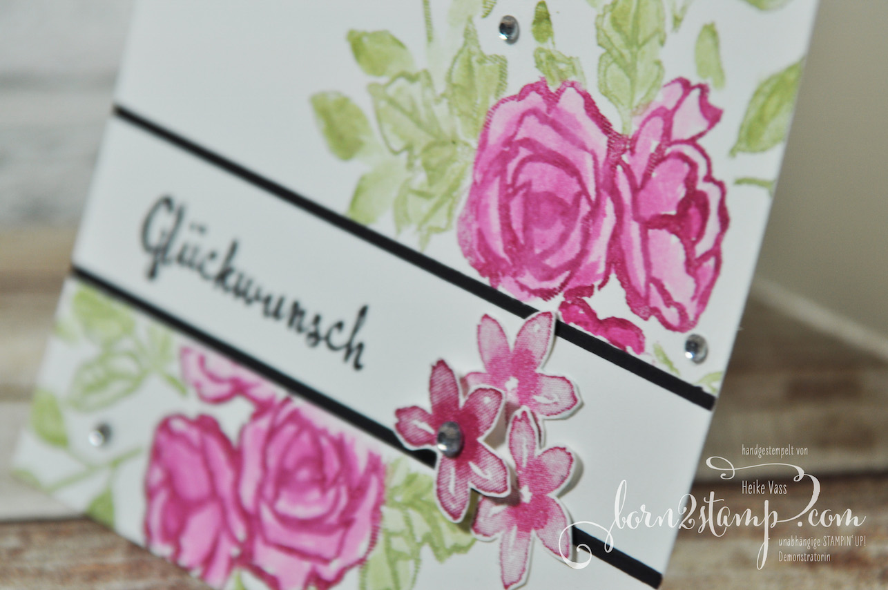 born2stamp STAMPIN' UP! Stamping Techniques to try – Geburtstagskarte – Blütentraum