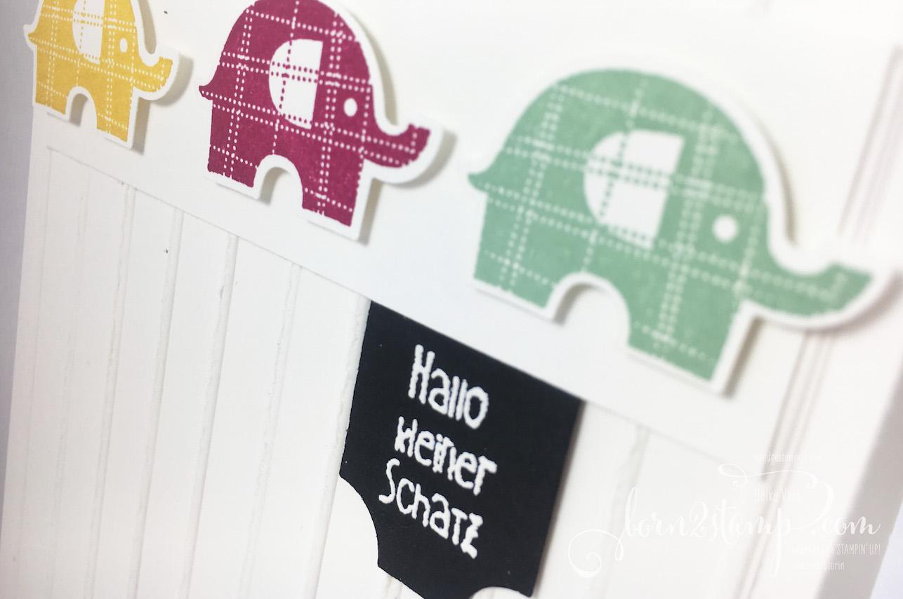 born2stamp STAMPIN' UP! IN{K}SPIRE_me – Babykarte – Elefantastisch – Big Shot – Schlichte Streifen